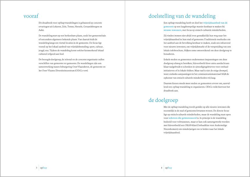 """Bladspiegel brochure """"op Stap"""" in Microsoft Word. Klik om het draaiboek te doorbladeren."""