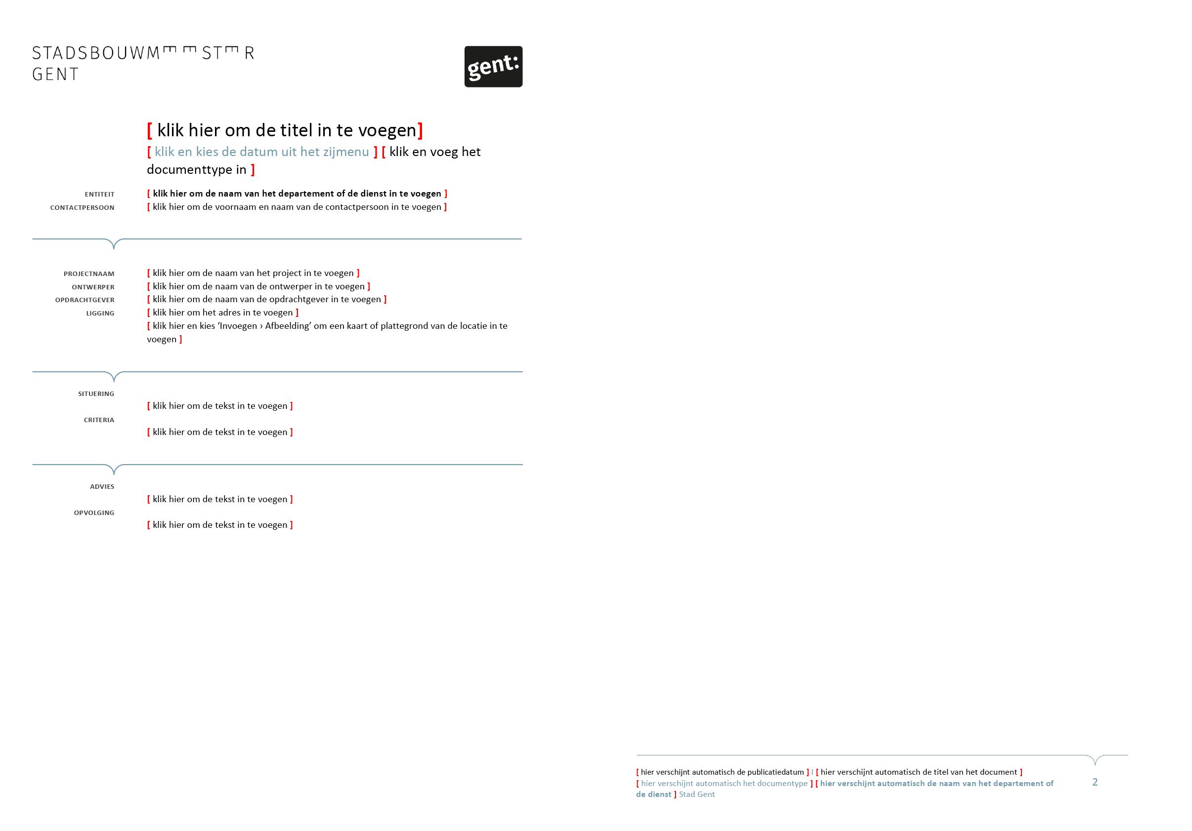Advies van de Stadsbouwmeester Gent (blanco). Afgeleid en gepersonaliseerd Microsoft Word-sjabloon voor de Stad Gent.