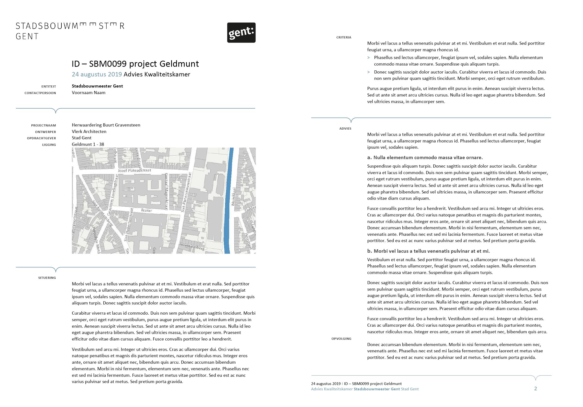 Advies van de Stadsbouwmeester Gent (ingevuld). Afgeleid en gepersonaliseerd Microsoft Word-sjabloon voor de Stad Gent.
