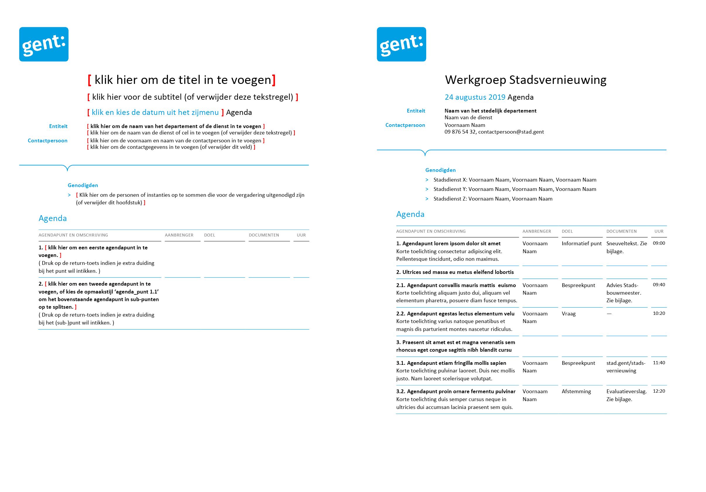 Agenda voor vergadering (blanco en ingevuld). Afgeleid Microsoft Word-sjabloon voor de Stad Gent.
