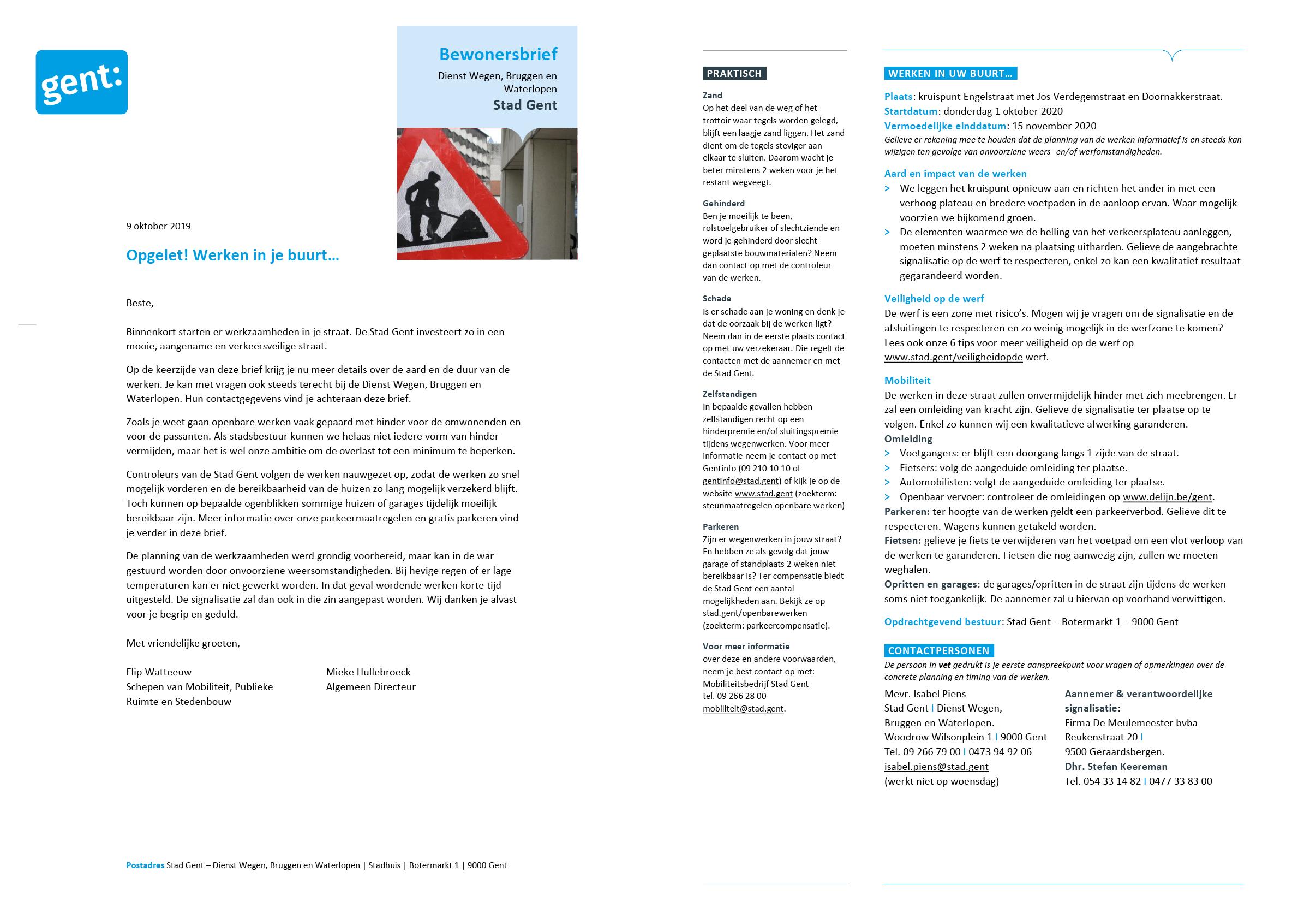 Bewonersbrief-sjabloon (ingevuld). Afgeleid Microsoft Word-sjabloon voor de Stad Gent.