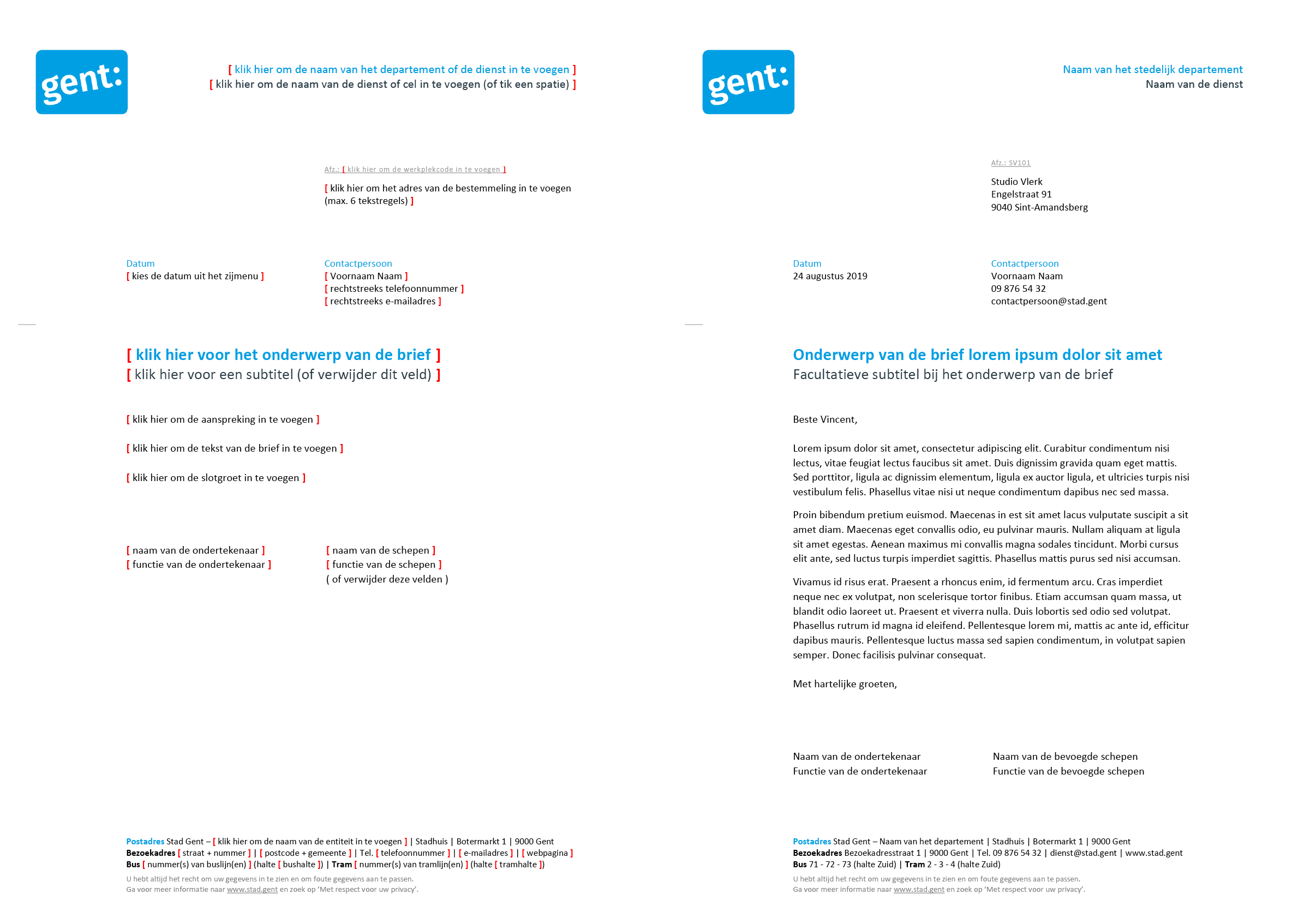 Brief met contactpersoon (blanco en ingevuld). Microsoft Word-sjabloon voor de Stad Gent.