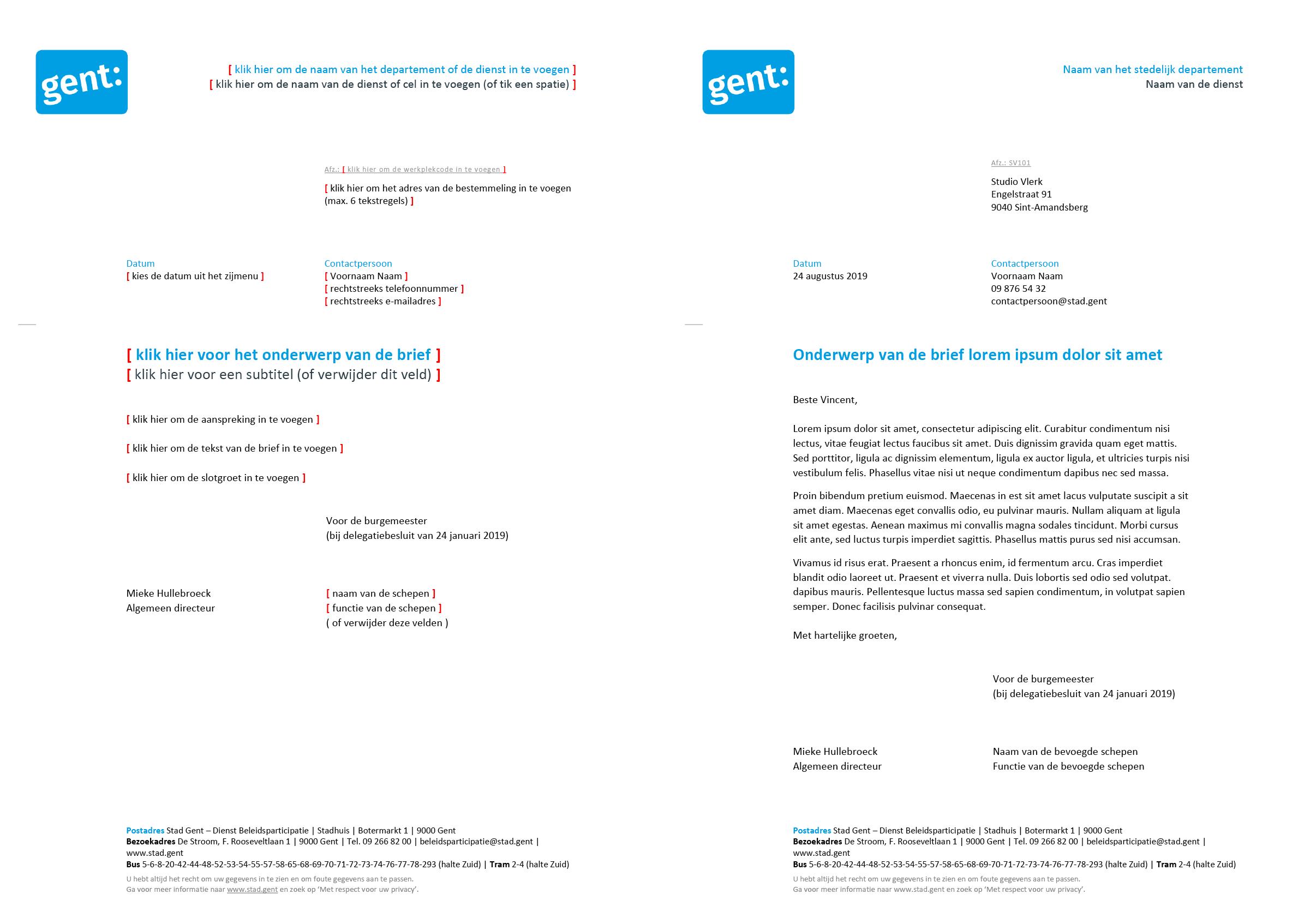 Brief met contactpersoon, gepersonaliseerd voor de Algemeen Directeur (blanco en ingevuld). Microsoft Word-sjabloon voor de Stad Gent.