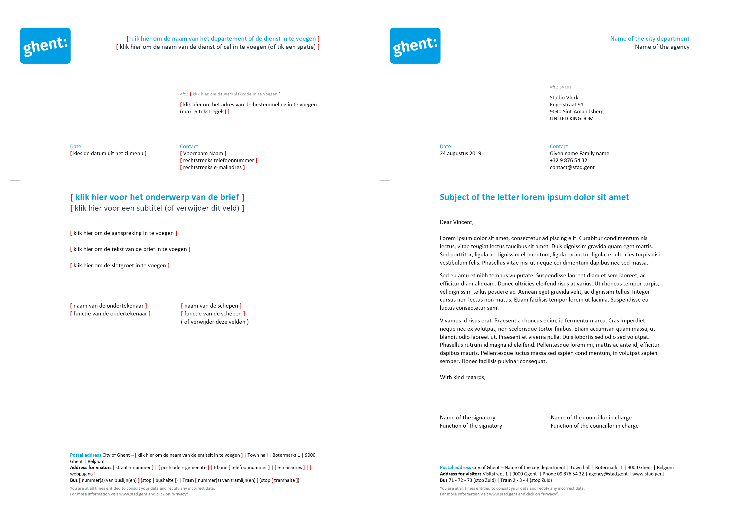 Engelstalige brief met contactpersoon (blanco en ingevuld). Afgeleid Microsoft Word-sjabloon voor de Stad Gent.