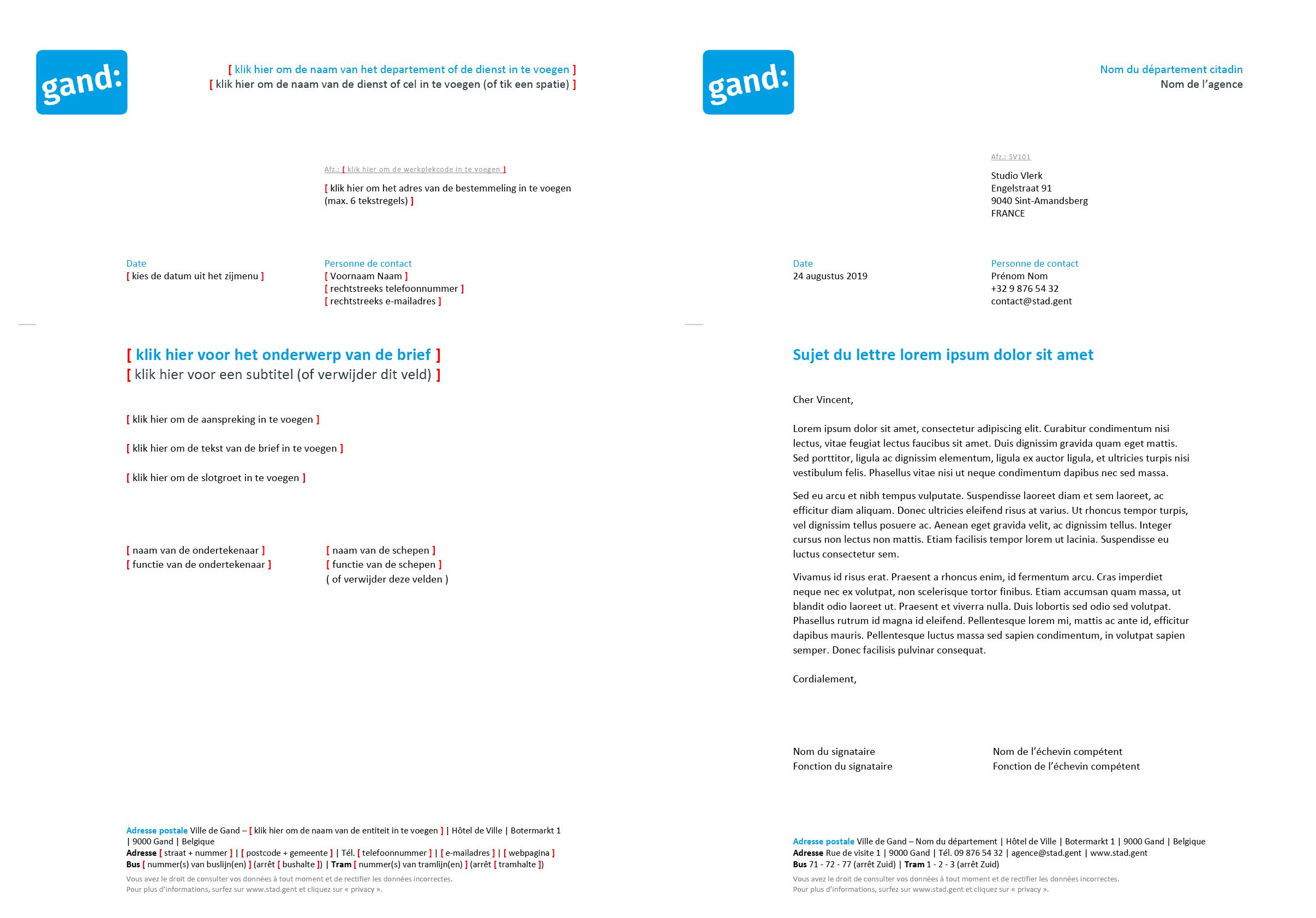 Franstalige brief met contactpersoon (blanco en ingevuld). Afgeleid Microsoft Word-sjabloon voor de Stad Gent.