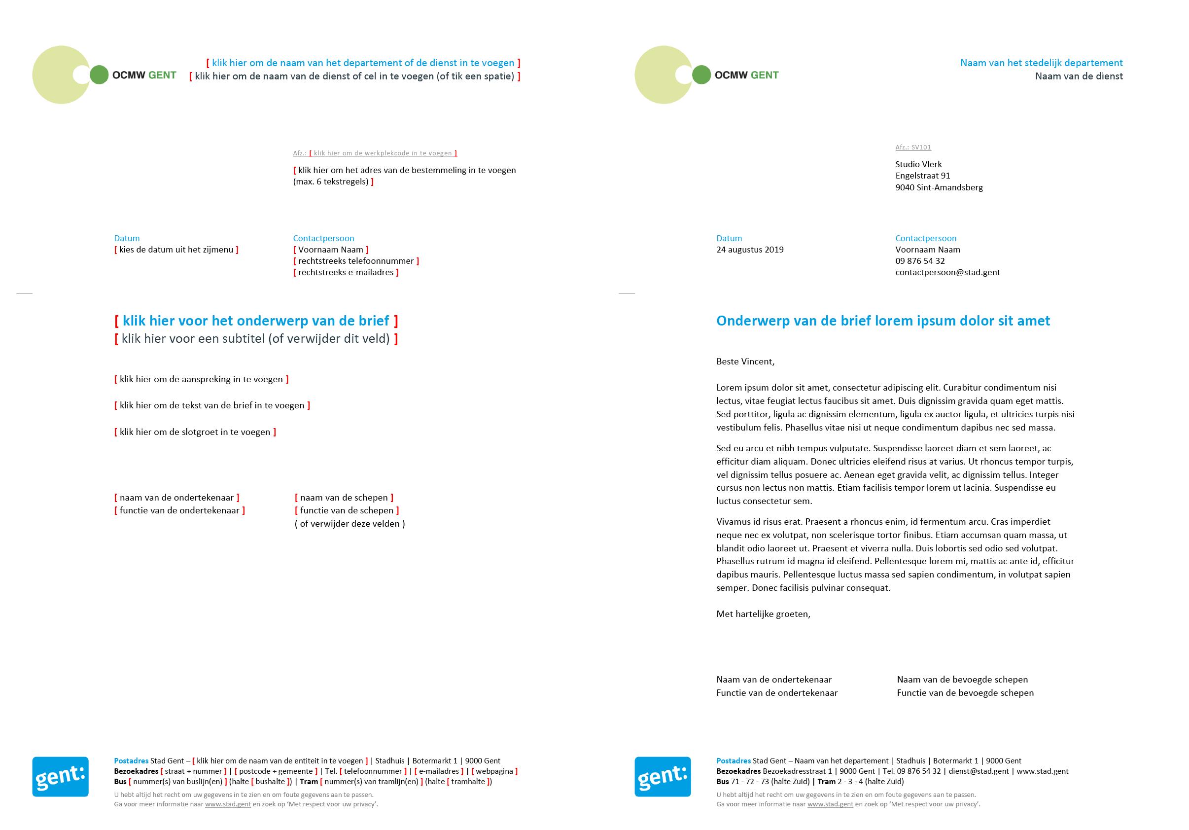 Brief met contactpersoon, gepersonaliseerd voor het submerk OCMW (blanco en ingevuld). Microsoft Word-sjabloon voor de Stad Gent.