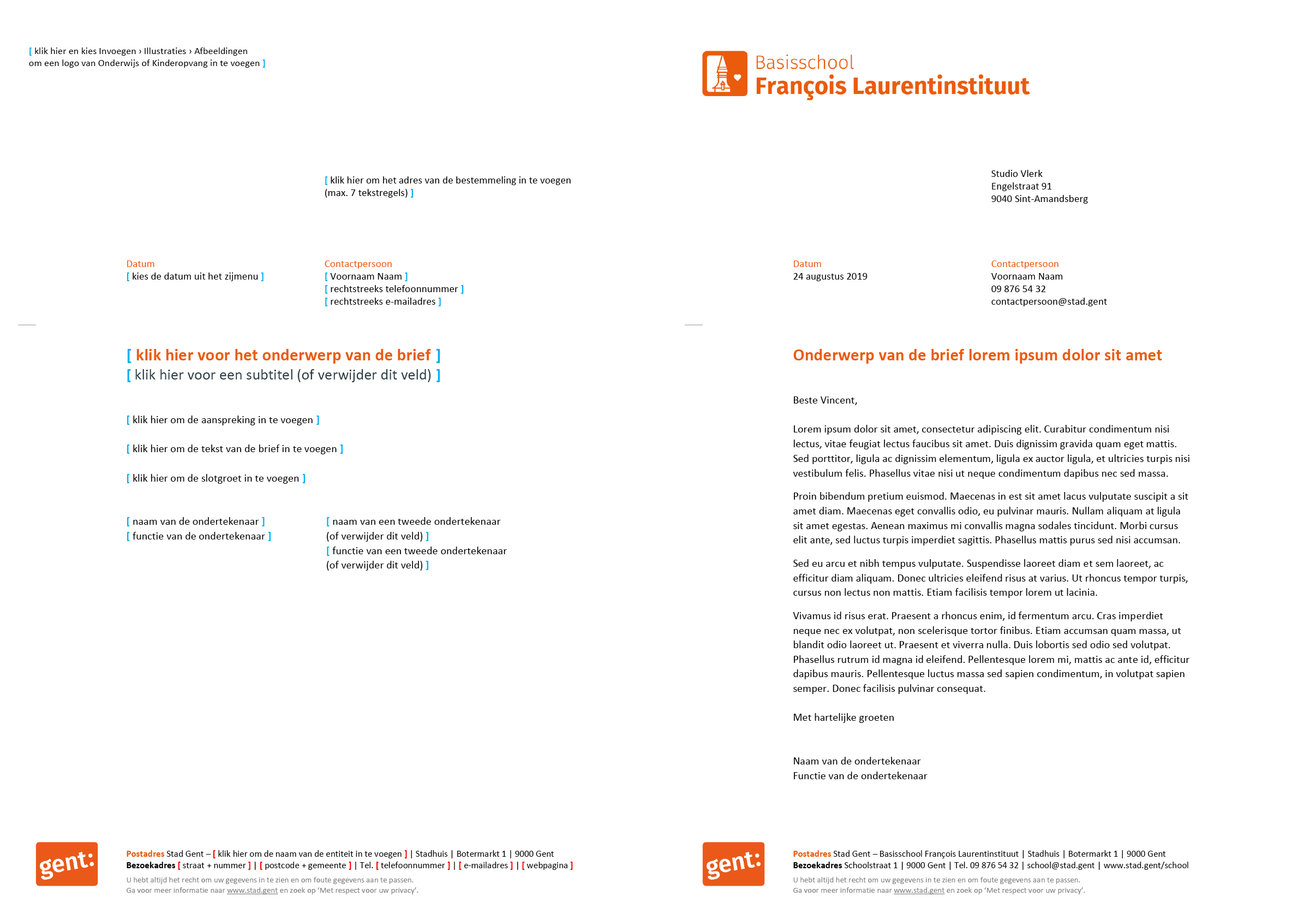 Brief met contactpersoon, gepersonaliseerd voor de submerken van het basisonderwijs (blanco en ingevuld). Microsoft Word-sjabloon voor de Stad Gent.