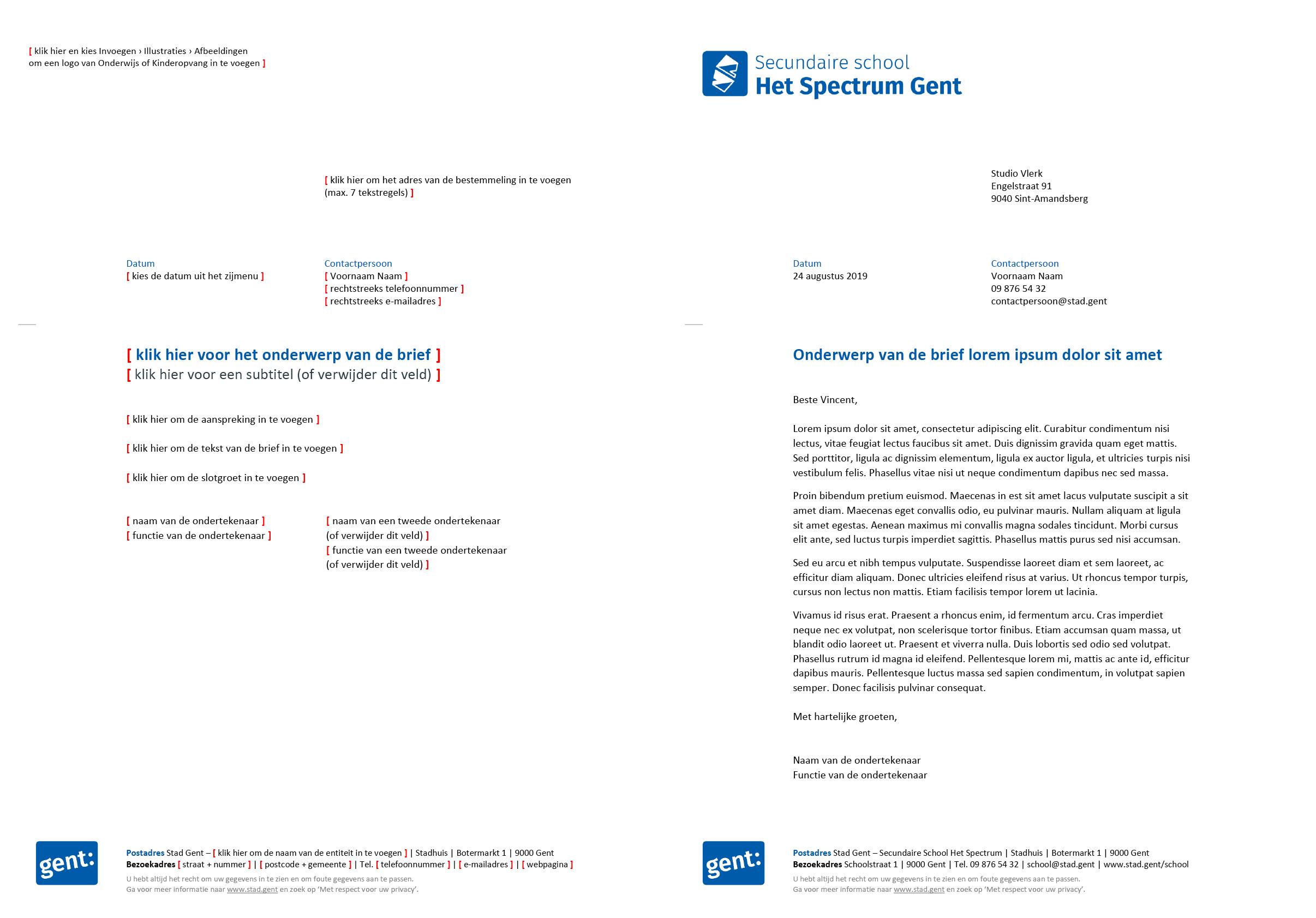 Brief met contactpersoon, gepersonaliseerd voor de submerken van het secundair onderwijs (blanco en ingevuld). Microsoft Word-sjabloon voor de Stad Gent.