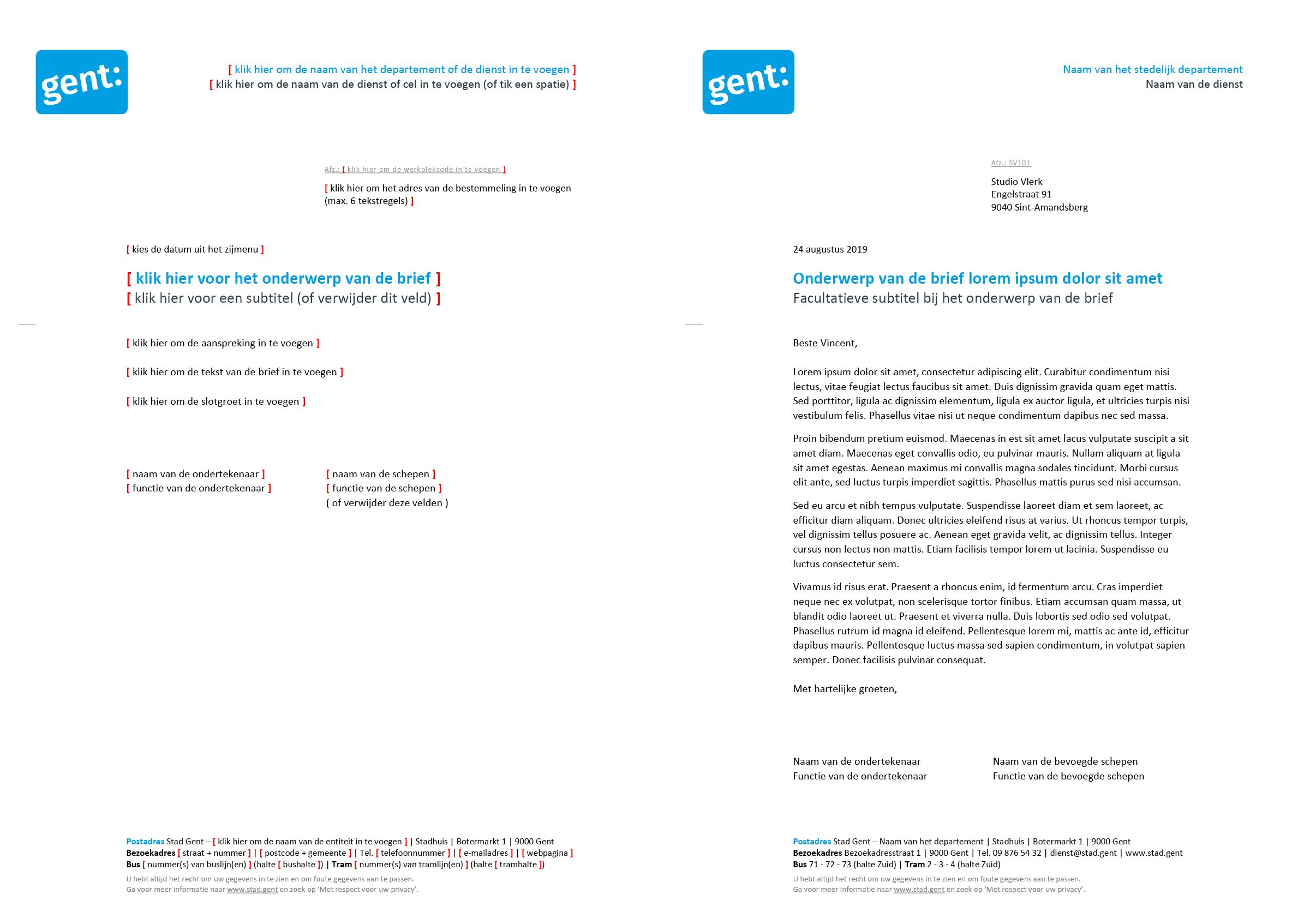 Brief zonder referentieregel (blanco en ingevuld). Microsoft Word-sjabloon voor de Stad Gent.