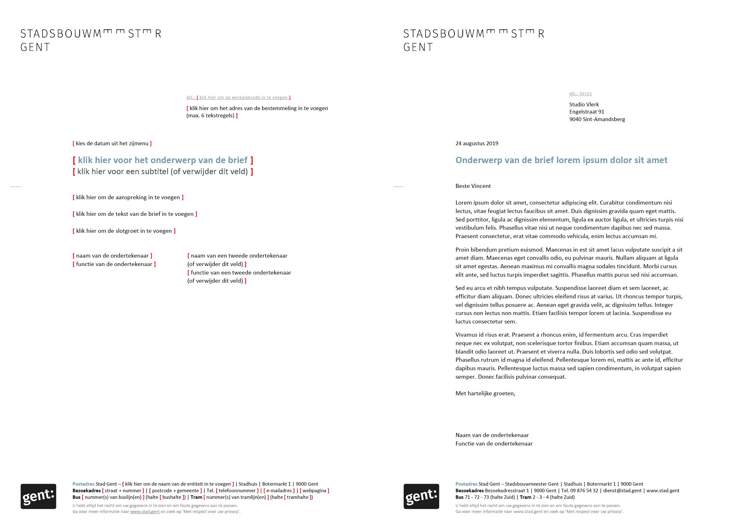 Brief, gepersonaliseerd voor het submerk van de Stadsbouwmeester Gent (blanco en ingevuld). Microsoft Word-sjabloon voor de Stad Gent.