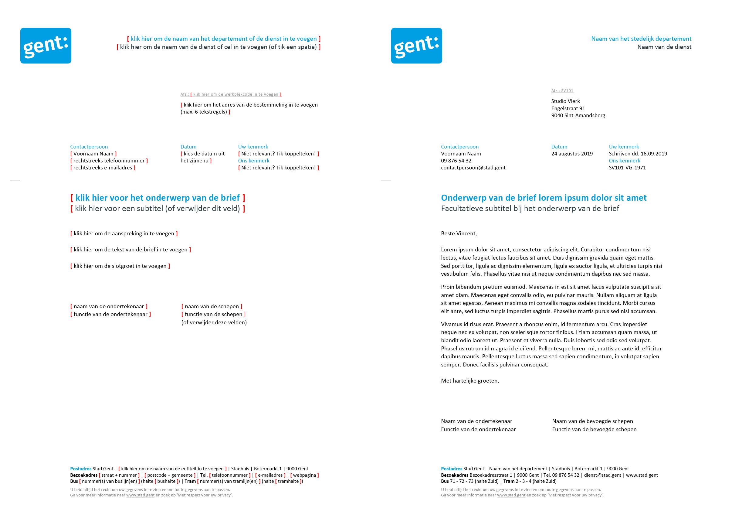 Brief met contactpersoon en kenmerken (blanco en ingevuld). Microsoft Word-sjabloon voor de Stad Gent.