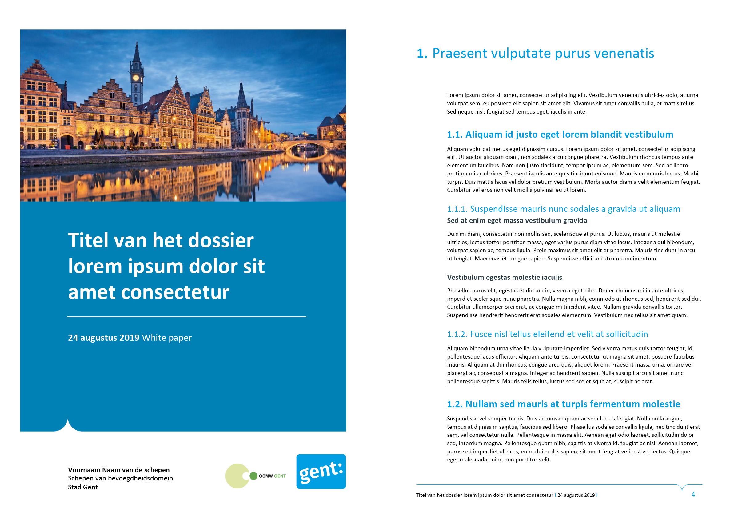 Dossier, gepersonaliseerd voor het submerk OCMW. Vierde voorblad-ontwerp en tekstpagina (ingevuld). Microsoft Word-sjabloon voor de Stad Gent.