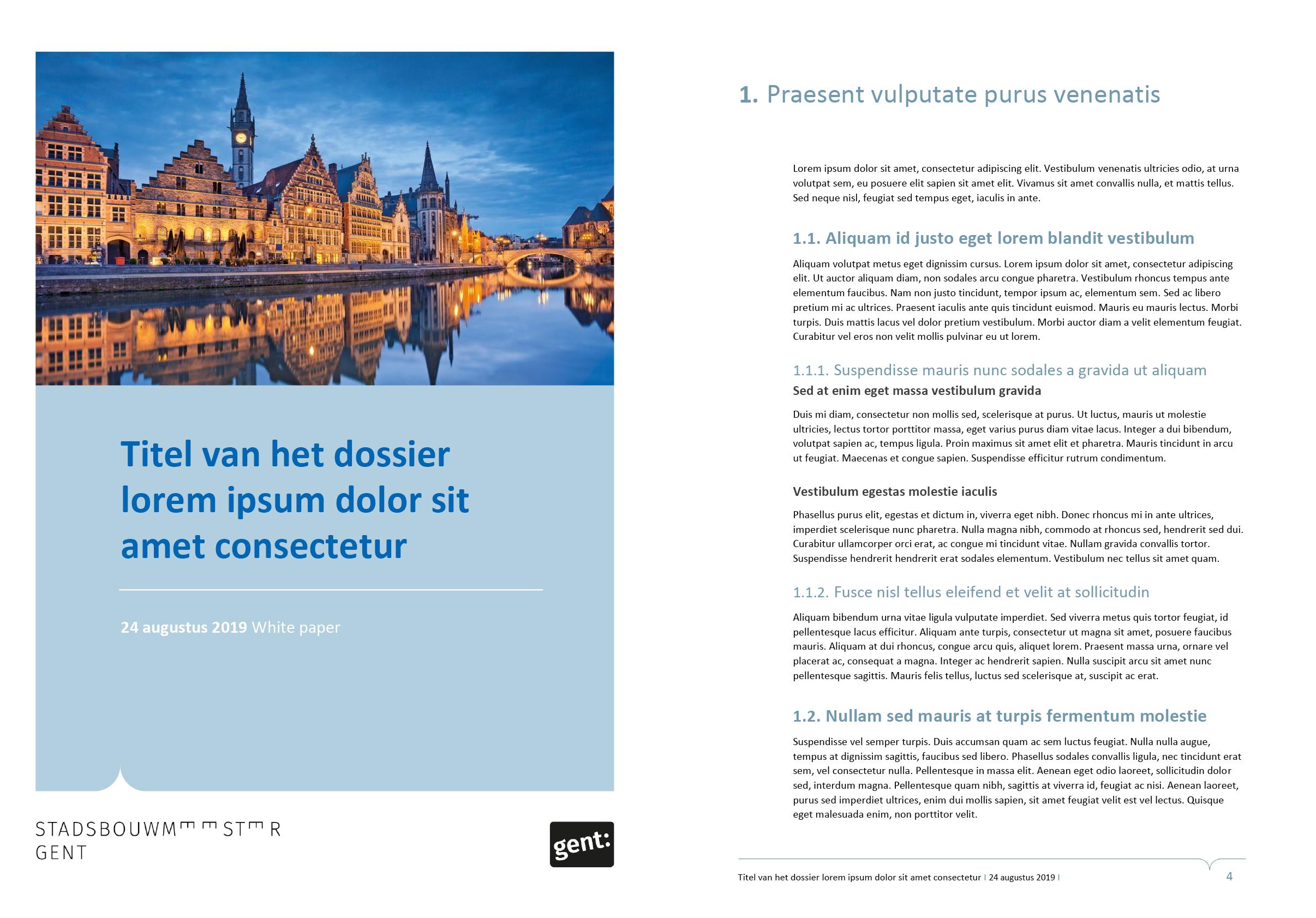 Dossier, gepersonaliseerd voor het submerk van de Stadsbouwmeester Gent. Voorblad en tekstpagina (ingevuld). Microsoft Word-sjabloon voor de Stad Gent.