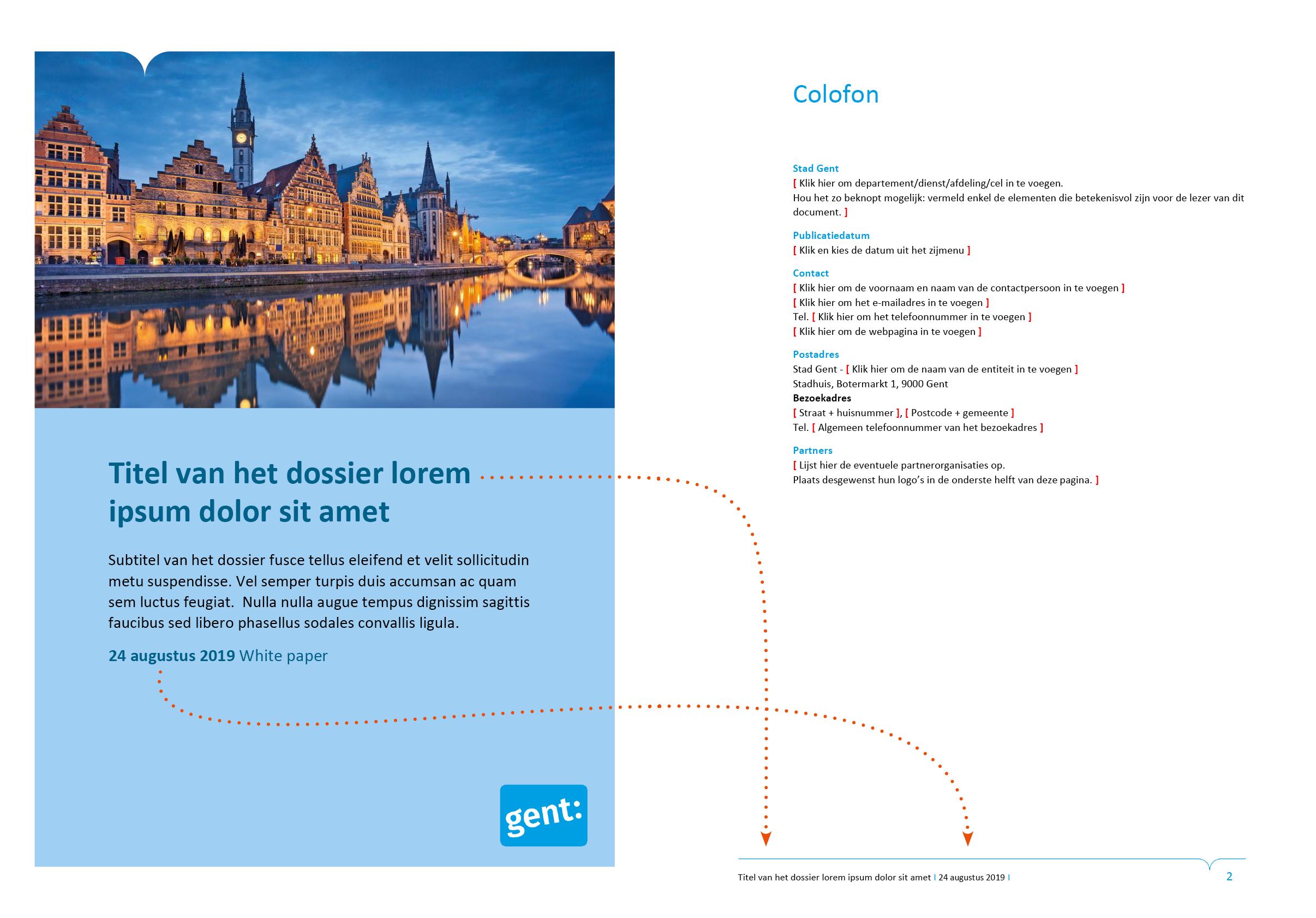 De voettekst wordt automatisch ingevuld via doorlussing uit het voorblad. Microsoft Word-sjabloon voor de Stad Gent.
