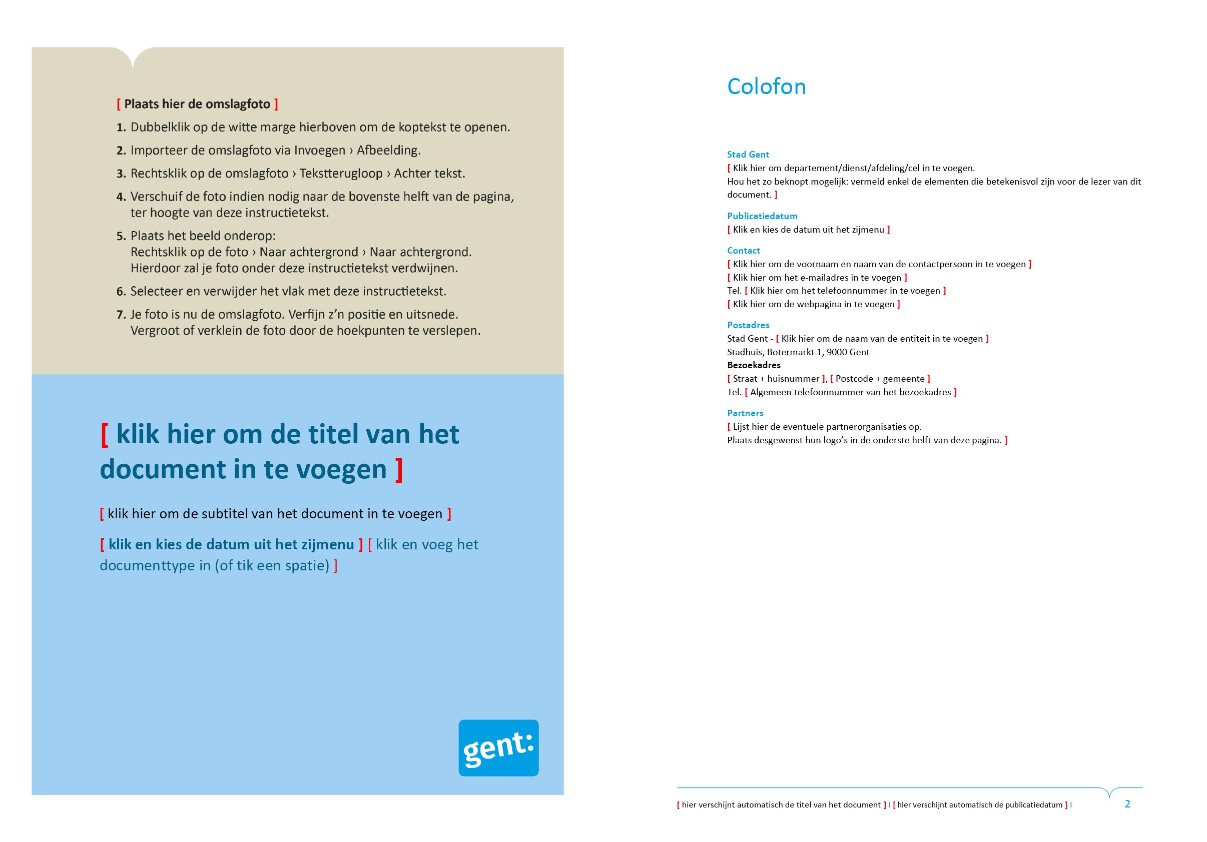 Eerste voorblad-ontwerp en colofon-pagina van dossier (blanco). Microsoft Word-sjabloon voor de Stad Gent.