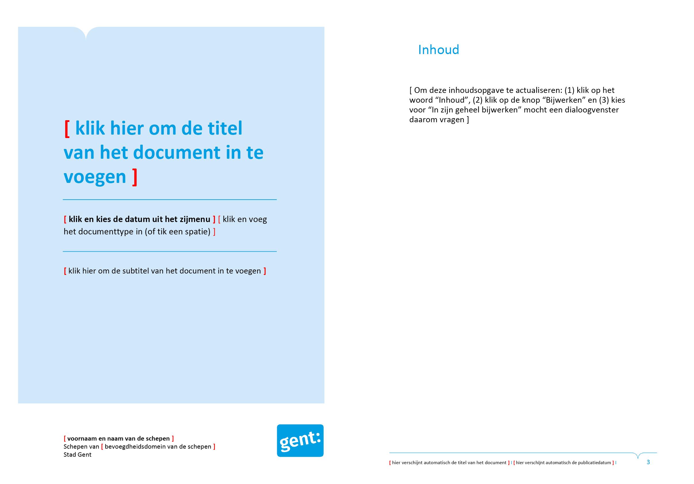 Tweede voorblad-ontwerp en automatische inhoudsopgave van dossier (blanco). Microsoft Word-sjabloon voor de Stad Gent.
