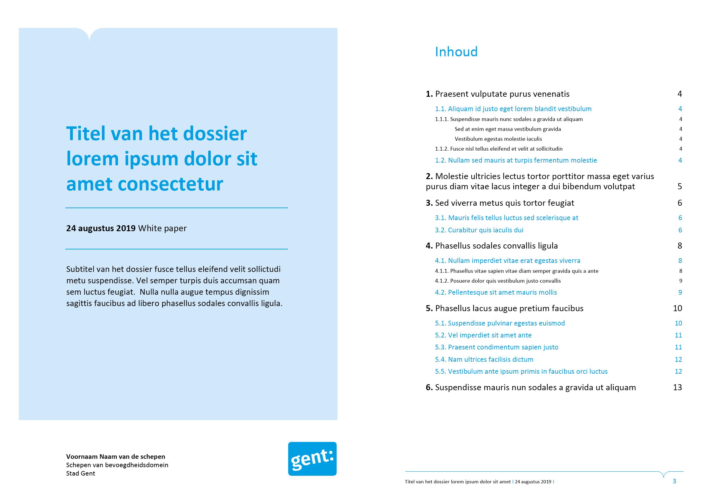 Tweede voorblad-ontwerp en automatische inhoudsopgave van dossier (ingevuld). Microsoft Word-sjabloon voor de Stad Gent.