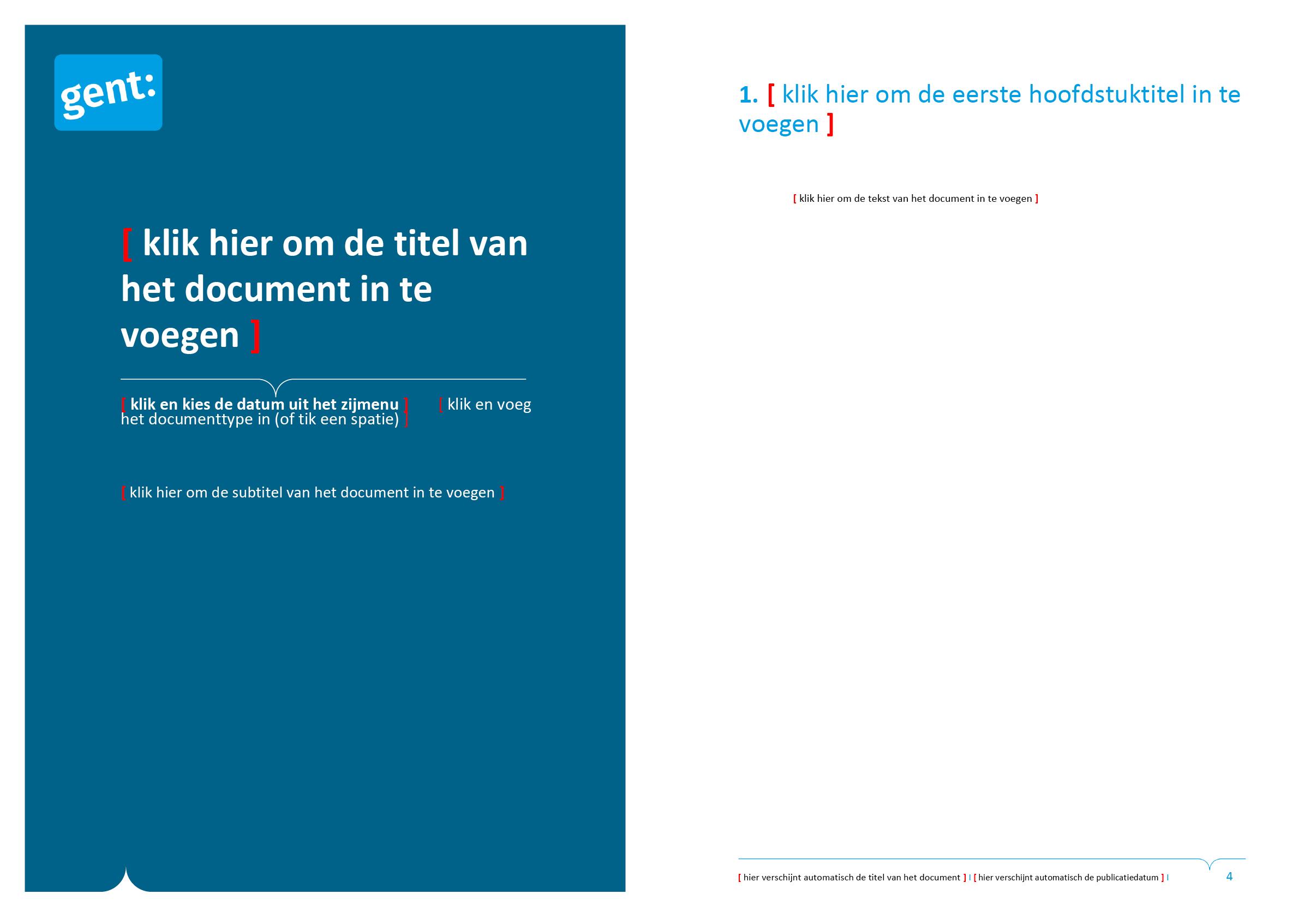 Derde voorblad-ontwerp en tekstpagina van dossier (blanco). Microsoft Word-sjabloon voor de Stad Gent.