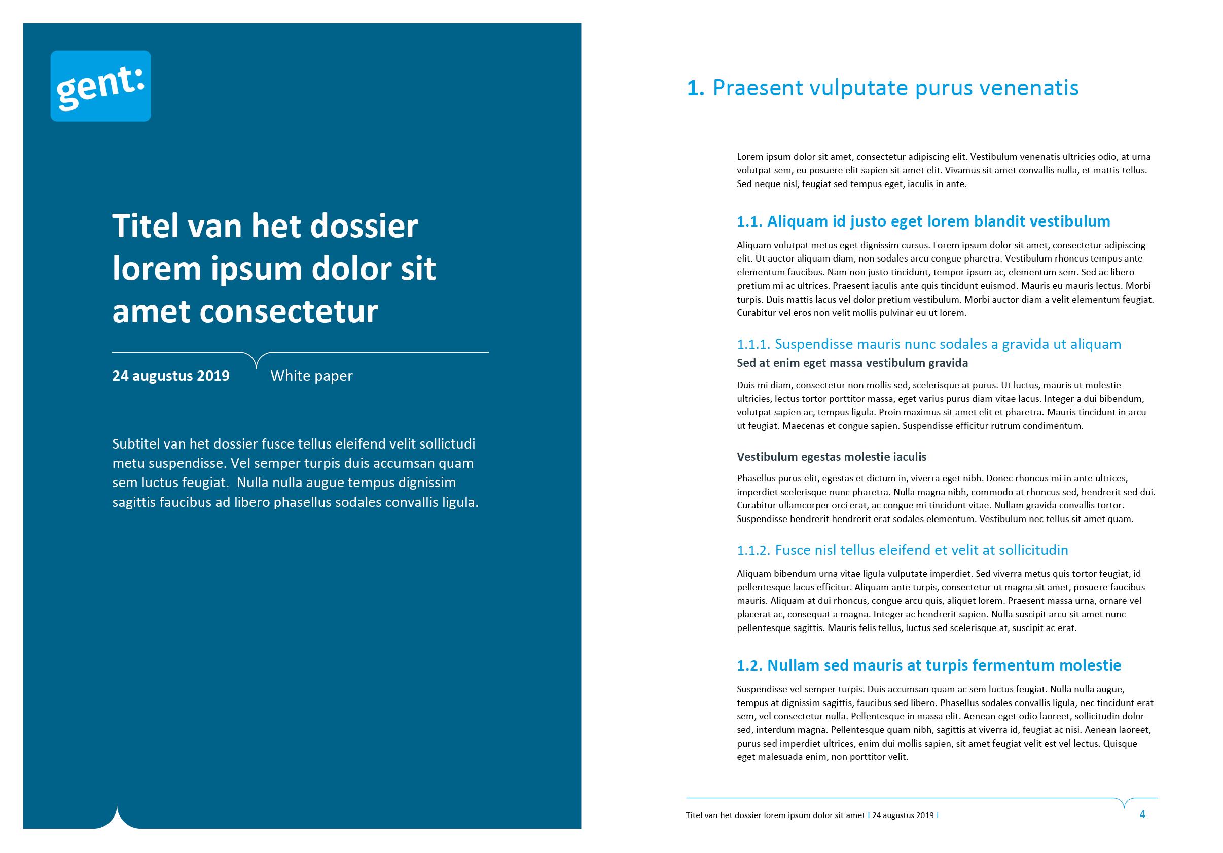 Derde voorblad-ontwerp en tekstpagina van dossier (ingevuld). Microsoft Word-sjabloon voor de Stad Gent.