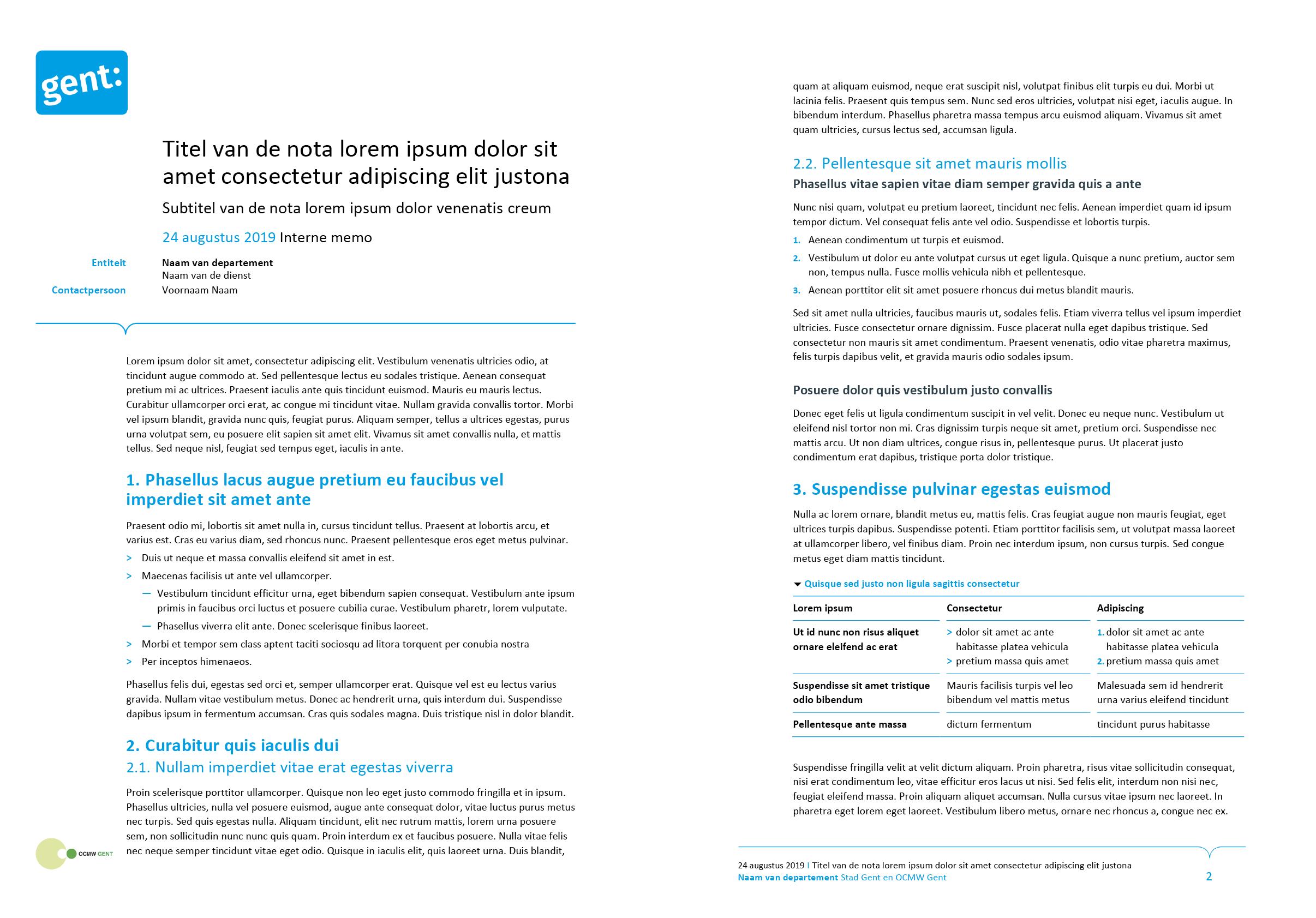 Nota, gepersonaliseerd voor het submerk OCMW (ingevuld). Microsoft Word-sjabloon voor de Stad Gent.