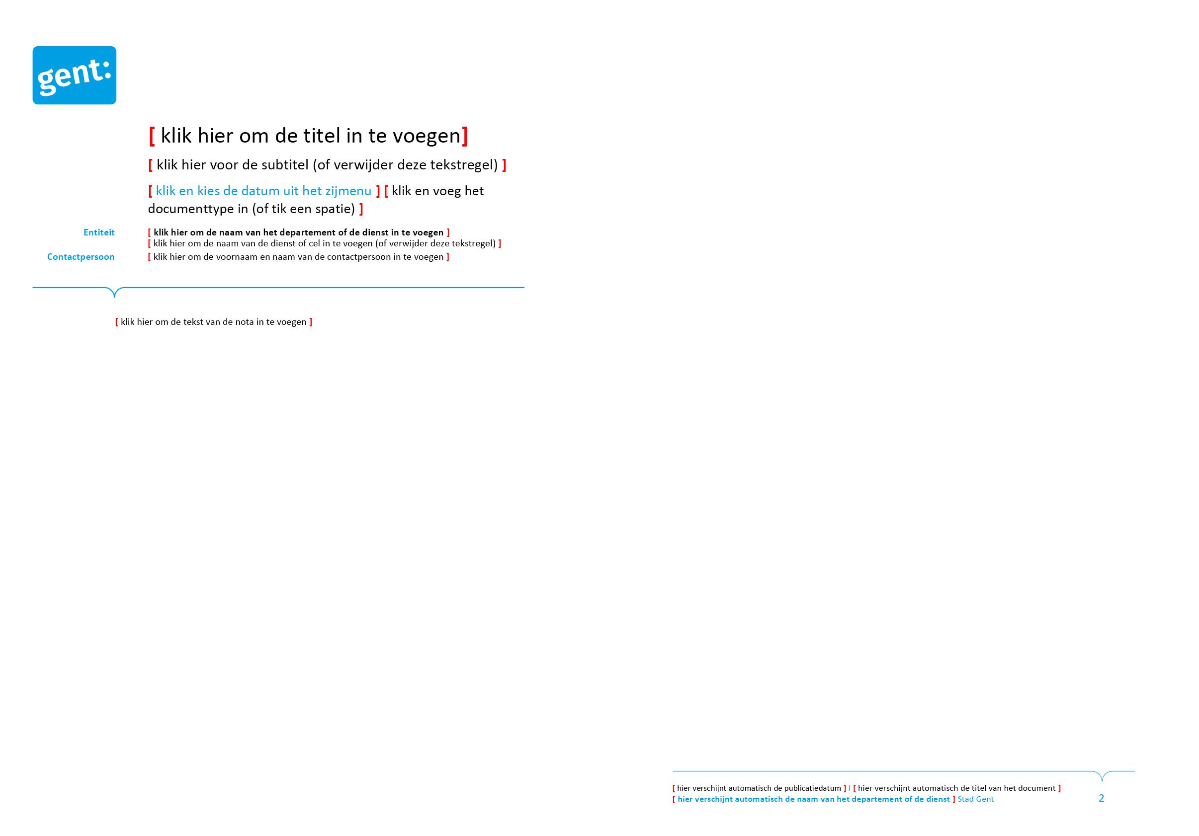 Nota (blanco). Microsoft Word-sjabloon voor de Stad Gent.