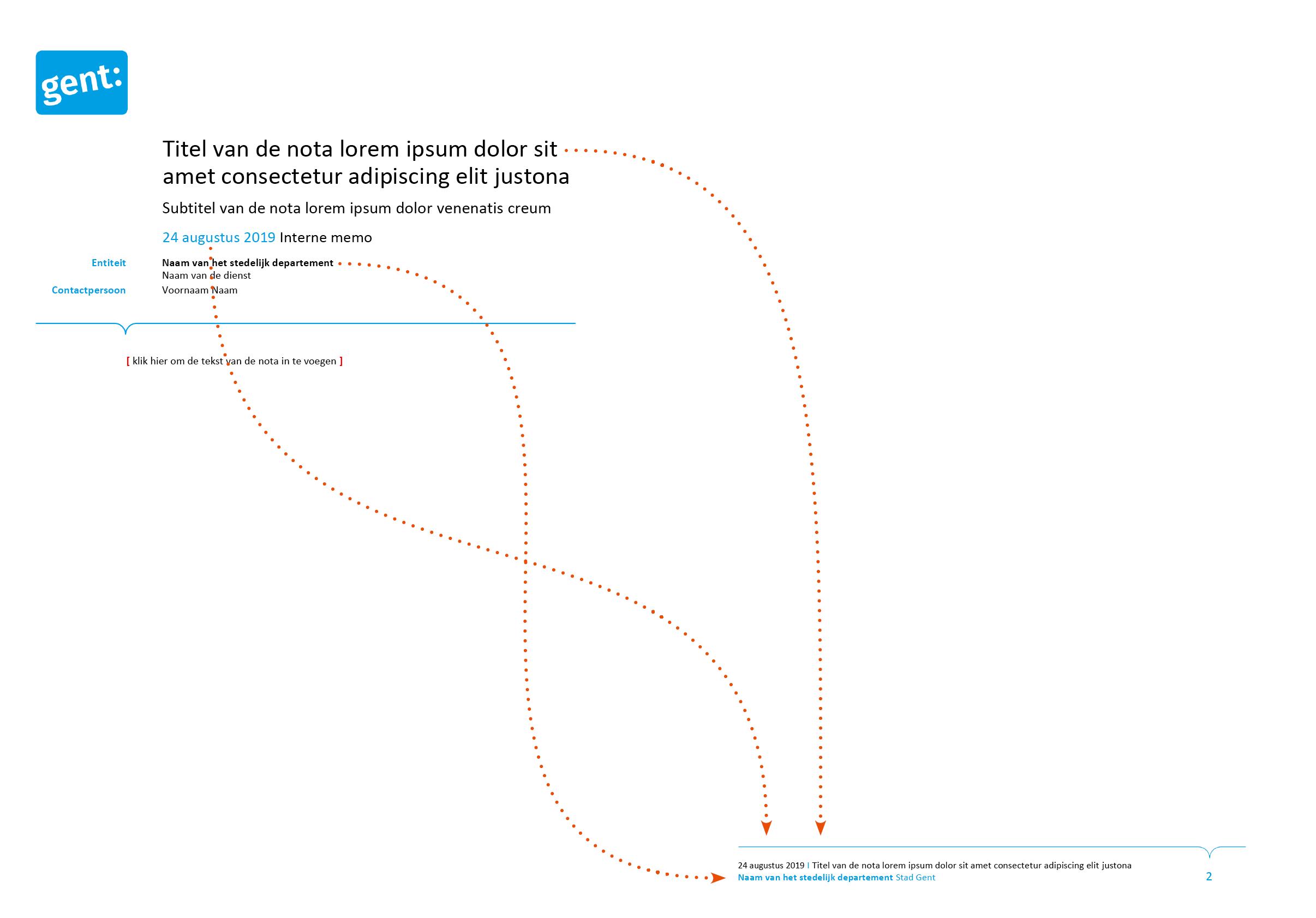 De voettekst wordt automatisch ingevuld via doorlussing uit de nota-hoofding. Microsoft Word-sjabloon voor de Stad Gent.