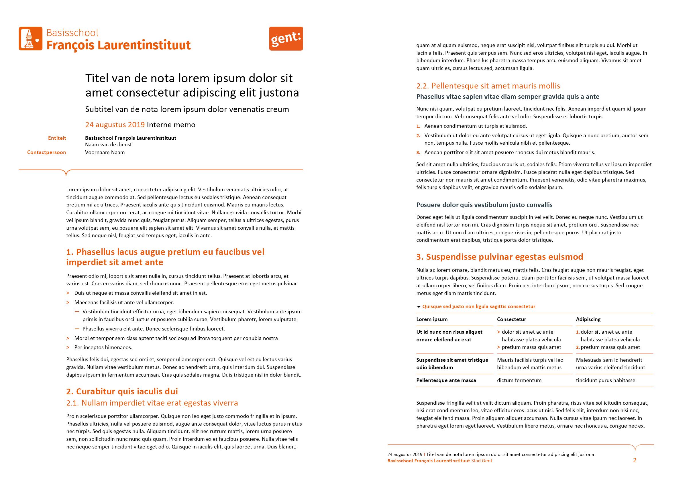 Nota, gepersonaliseerd voor de submerken van het basisonderwijs (ingevuld). Microsoft Word-sjabloon voor de Stad Gent.