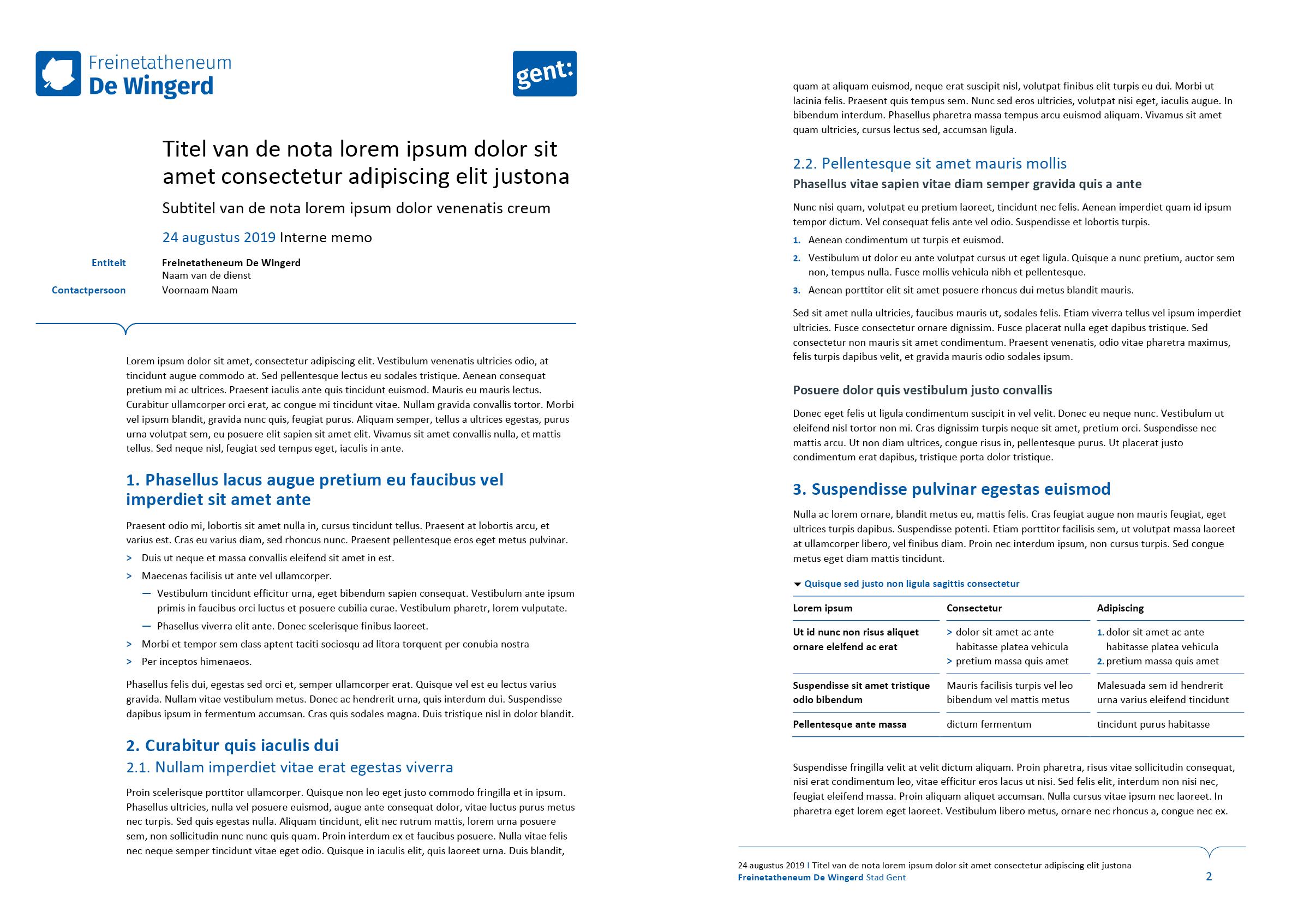 Nota, gepersonaliseerd voor de submerken van het secundair onderwijs (ingevuld). Microsoft Word-sjabloon voor de Stad Gent.