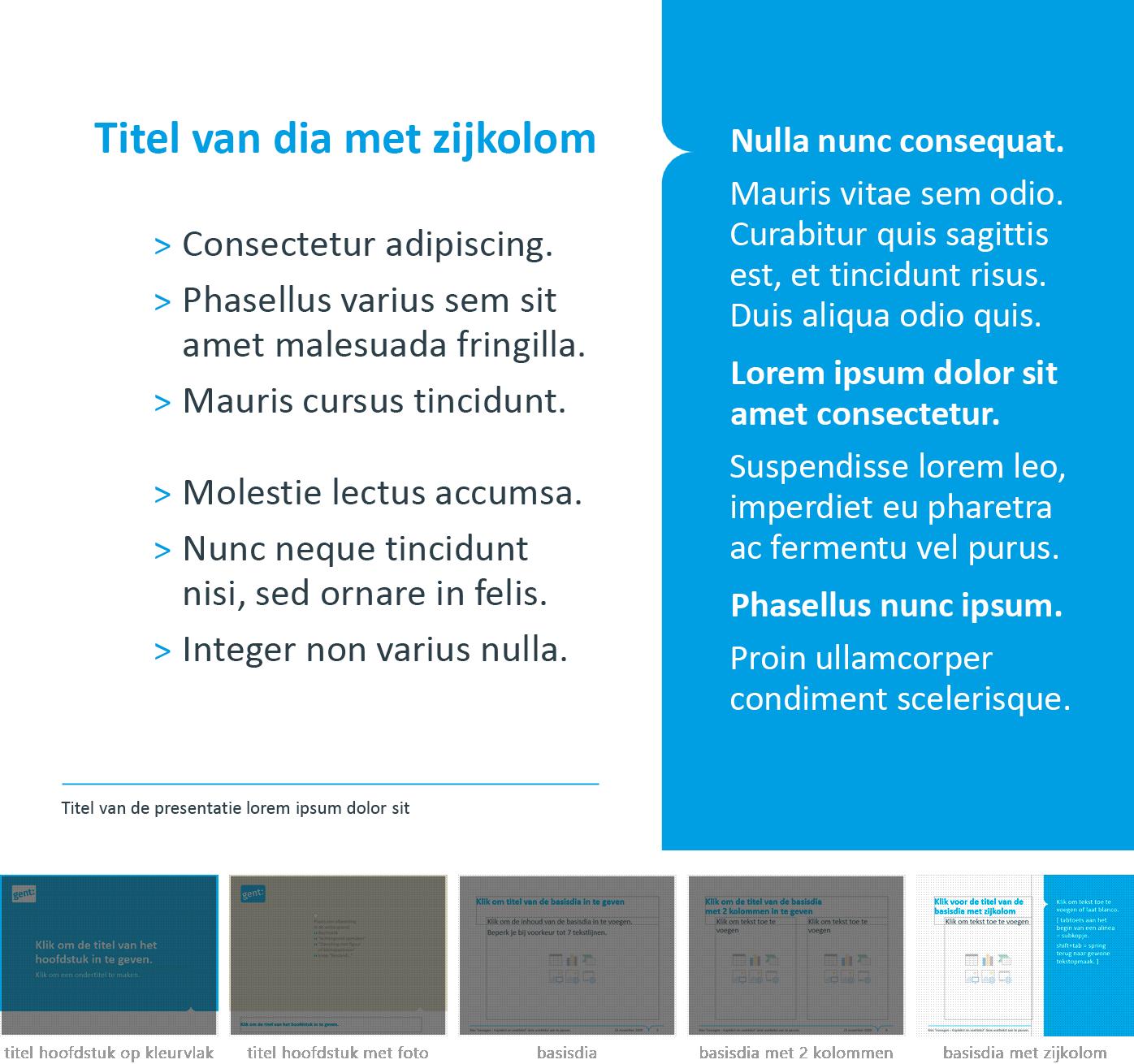 """Dia-type """"basisdia met zijkolom"""" uit het Powerpoint-sjabloon van de Stad Gent."""