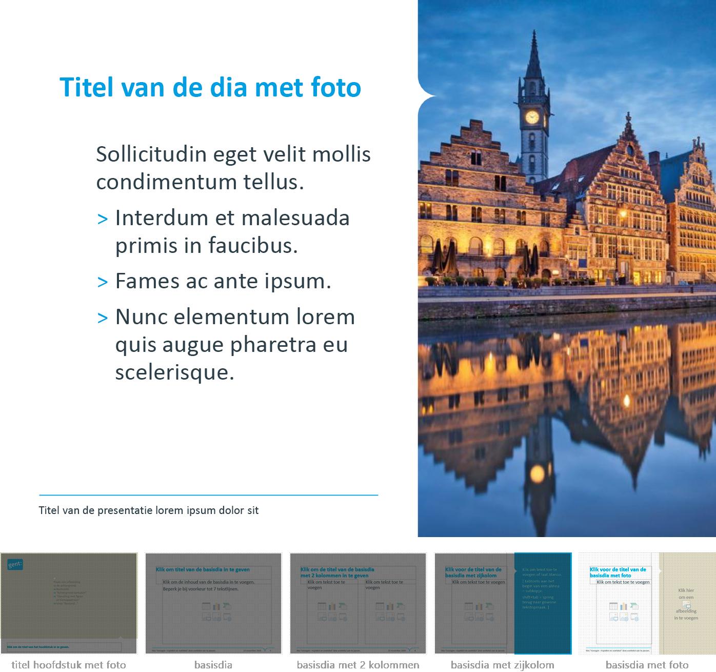 """Dia-type """"basisdia met foto"""" uit het Powerpoint-sjabloon van de Stad Gent."""