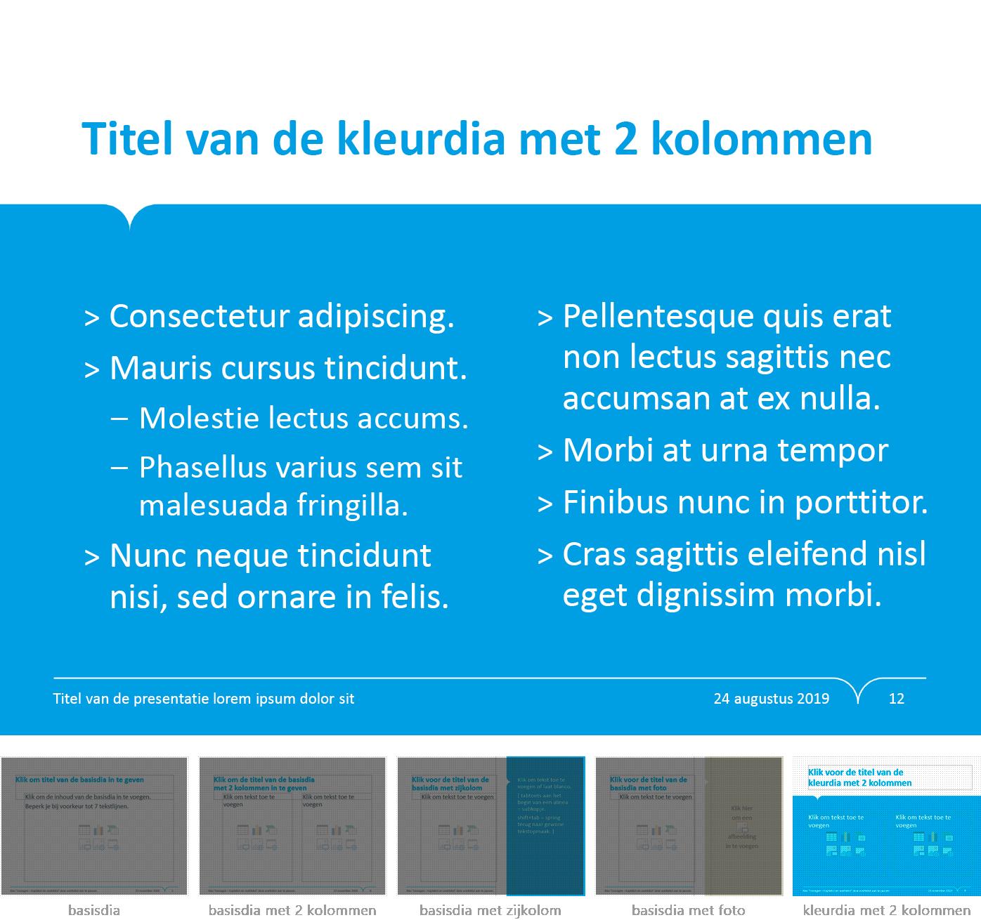"""Dia-type """"kleurdia met twee kolommen"""" uit het Powerpoint-sjabloon van de Stad Gent."""