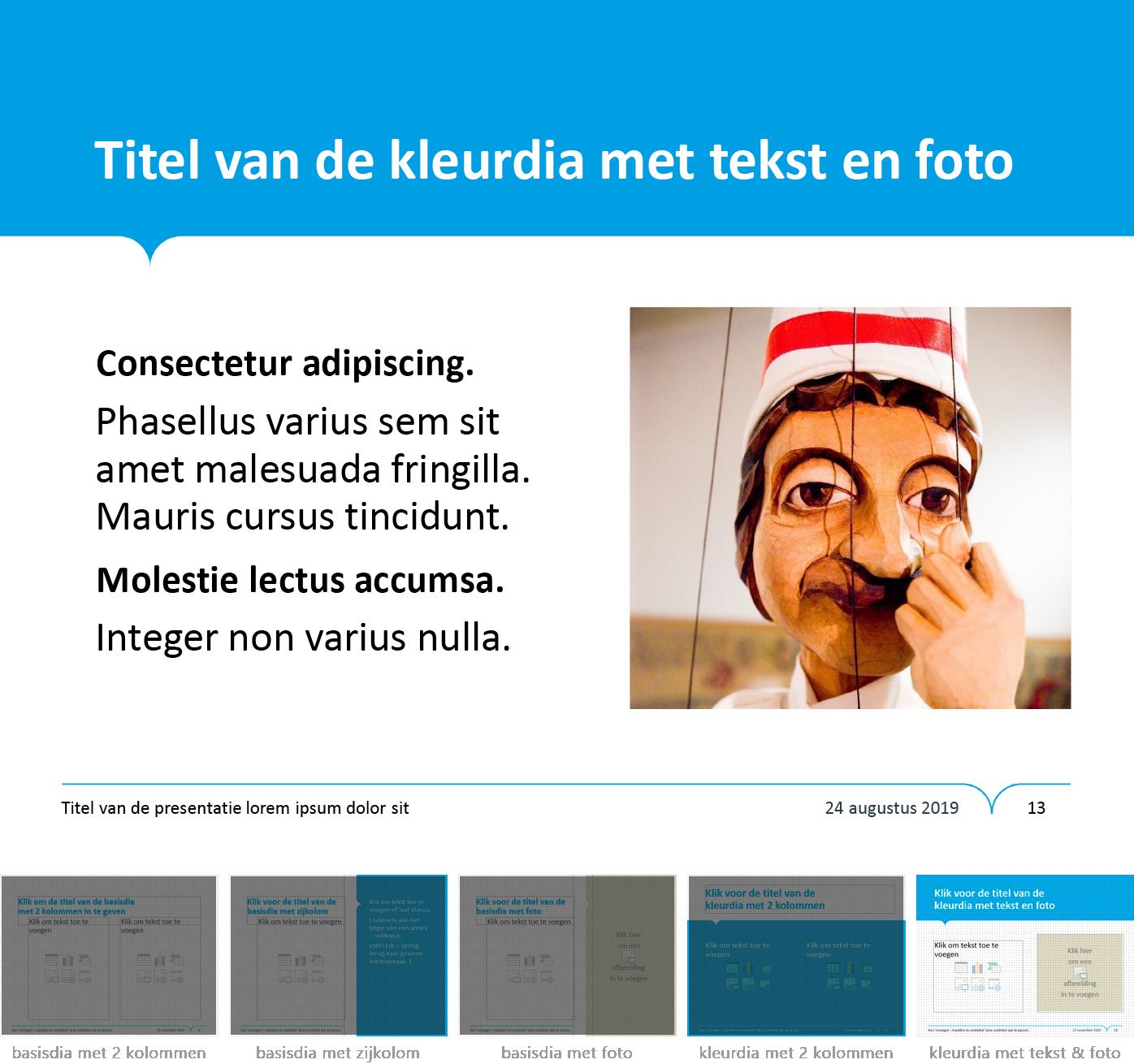 """Dia-type """"kleurdia met tekst en foto"""" uit het Powerpoint-sjabloon van de Stad Gent."""