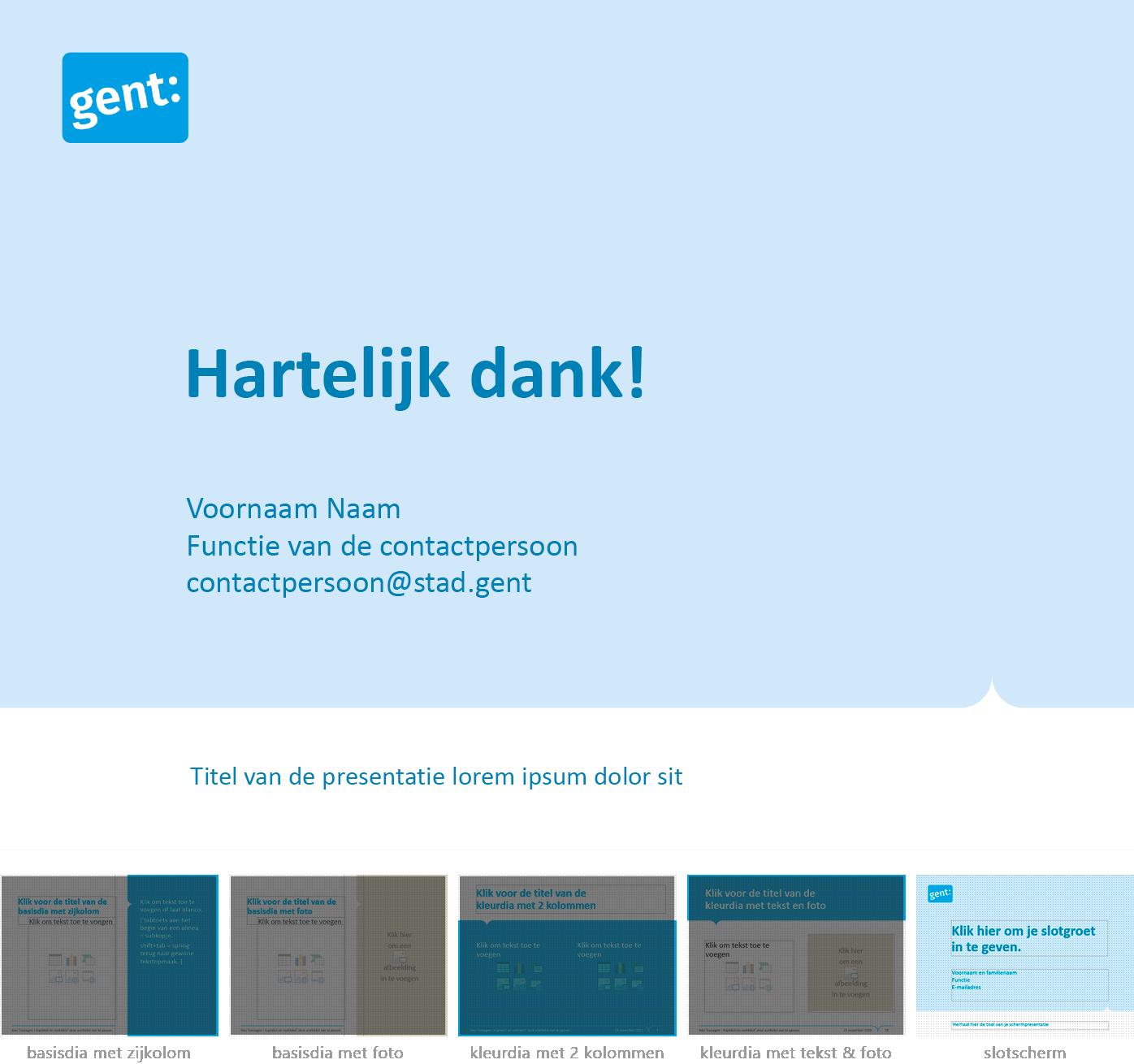 """Dia-type """"slotscherm"""" uit het Powerpoint-sjabloon van de Stad Gent."""