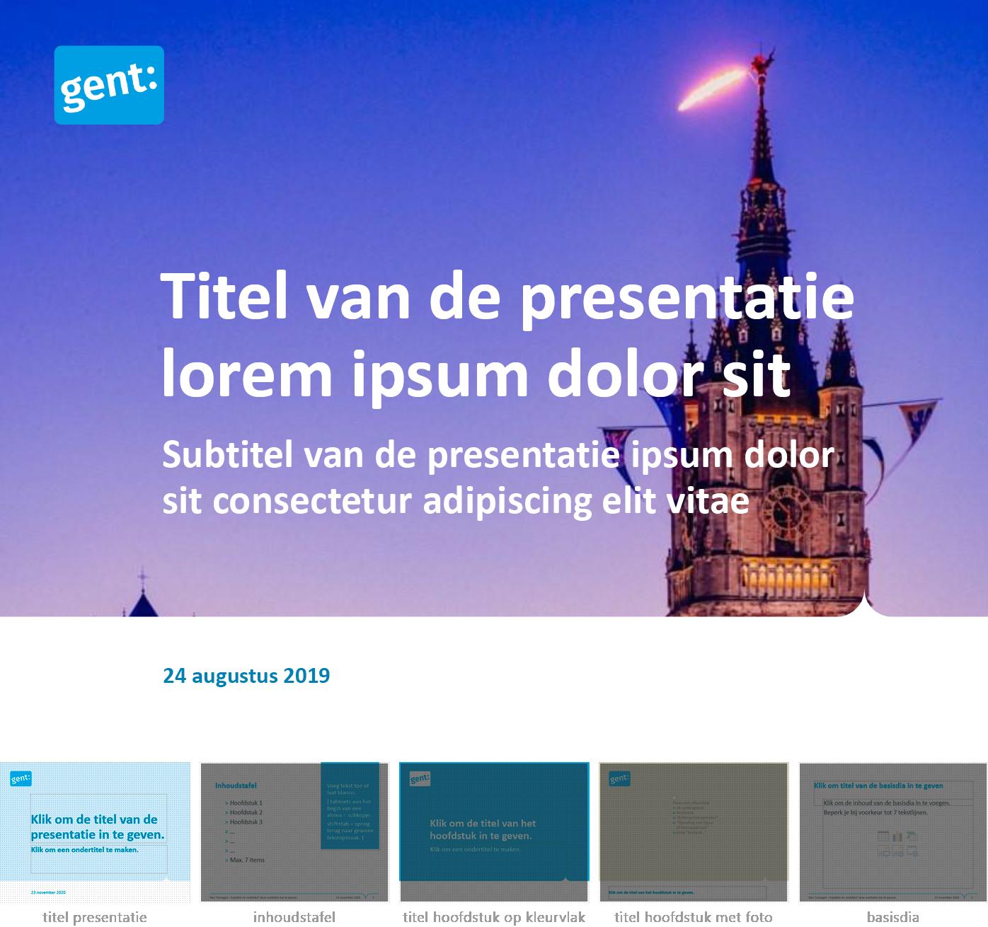 """Dia-type """"titel van de presentatie"""" uit het Powerpoint-sjabloon van de Stad Gent."""