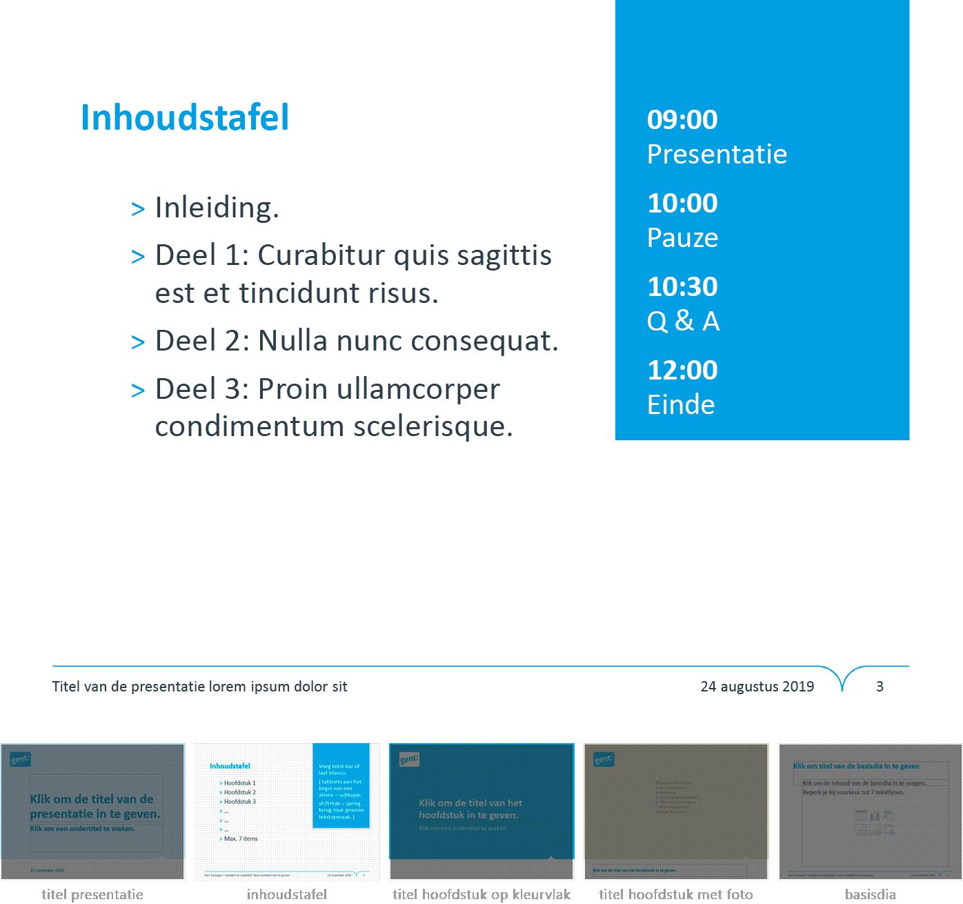 """Dia-type """"inhoudstafel"""" uit het Powerpoint-sjabloon van de Stad Gent."""