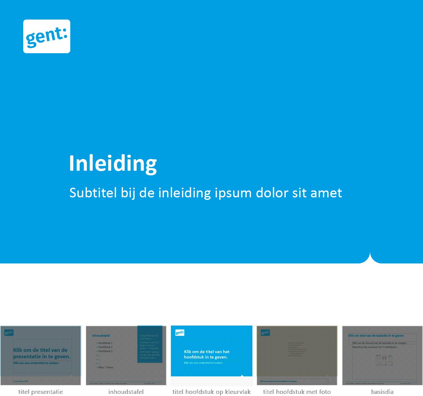 """Dia-type """"hoofdstuktitel op kleurvlak"""" uit het Powerpoint-sjabloon van de Stad Gent."""