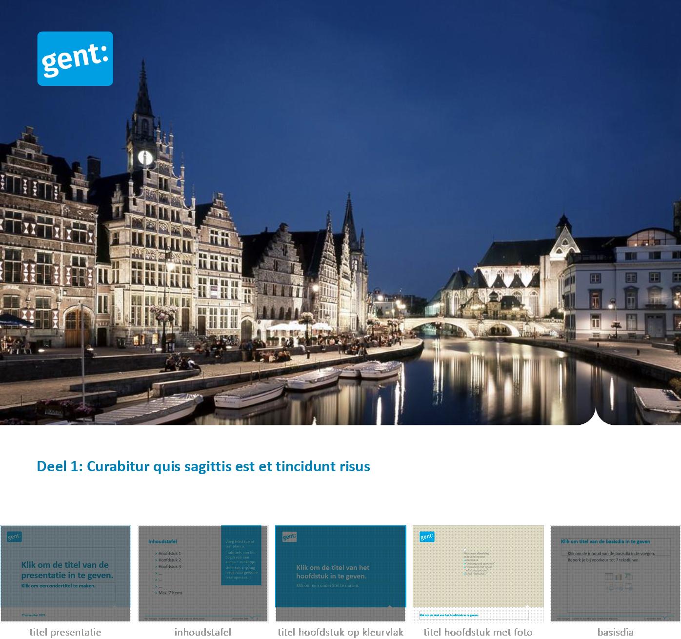 """Dia-type """"hoofdstuktitel met foto"""" uit het Powerpoint-sjabloon van de Stad Gent."""