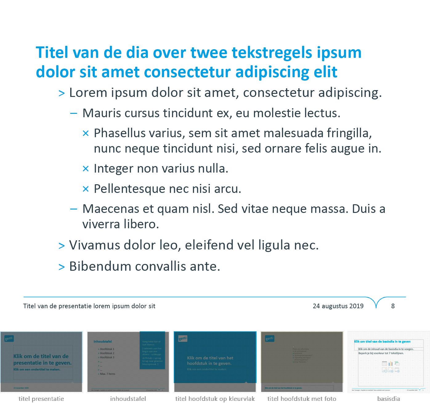 """Dia-type """"basisdia"""" uit het Powerpoint-sjabloon van de Stad Gent."""