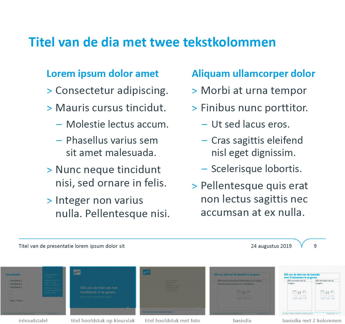 """Dia-type """"basisdia met twee kolommen"""" uit het Powerpoint-sjabloon van de Stad Gent."""