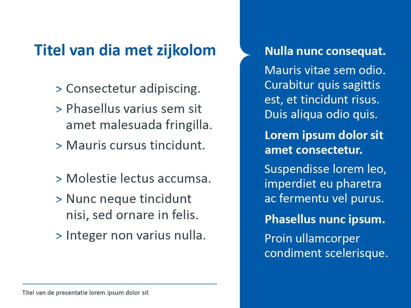 """Dia-type """"basisdia met zijkolom"""", gepersonaliseerd voor de submerken van het secundair onderwijs. Powerpoint-sjabloon van de Stad Gent."""