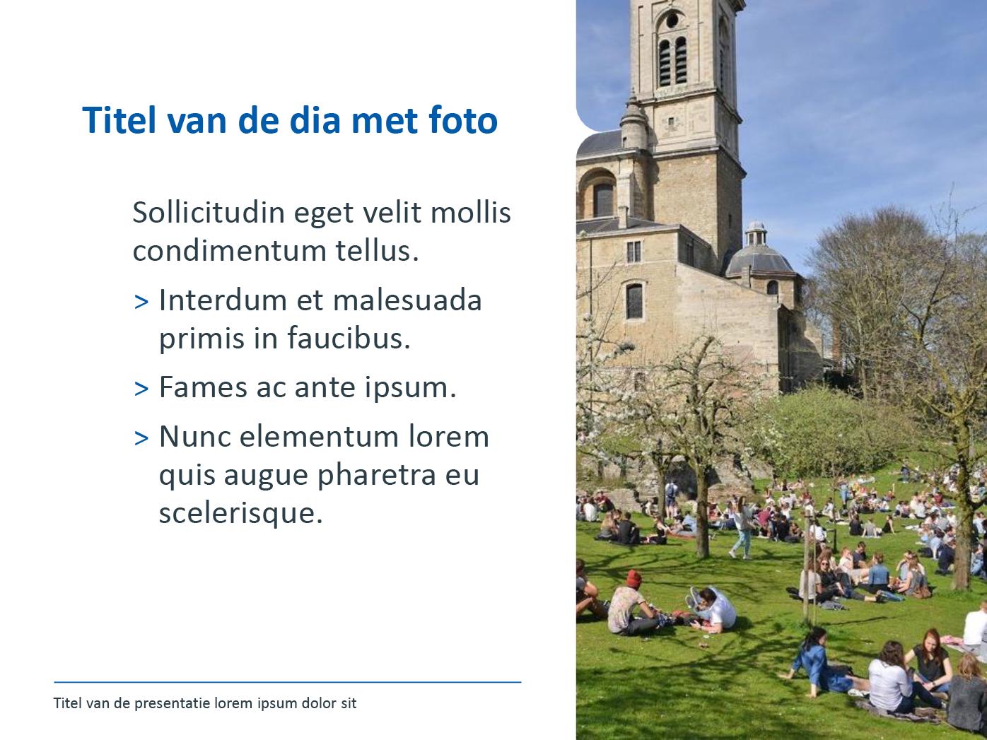 """Dia-type """"basisdia met foto"""", gepersonaliseerd voor de submerken van het secundair onderwijs. Powerpoint-sjabloon van de Stad Gent."""