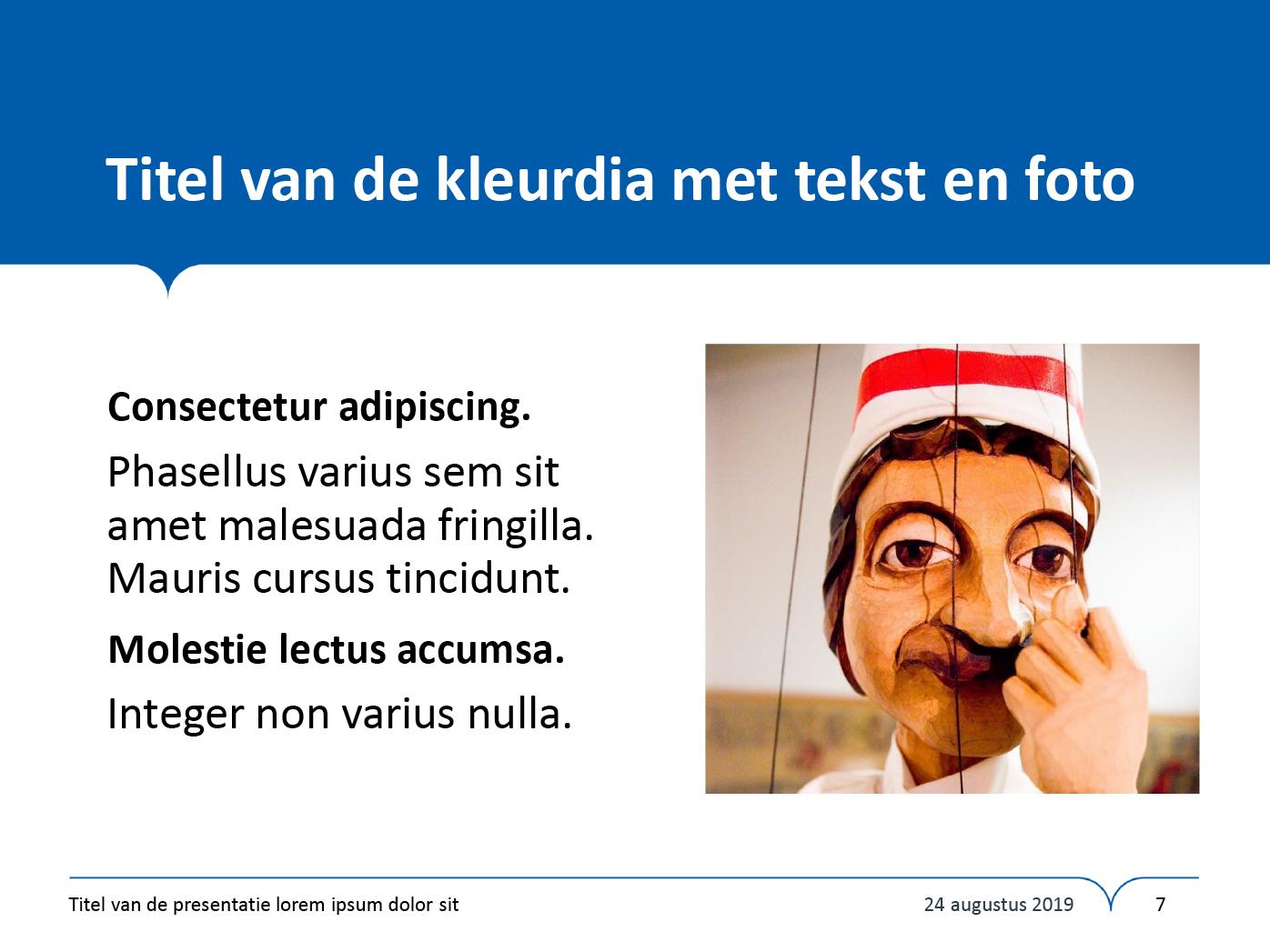 """Dia-type """"kleurdia met tekst en foto"""", gepersonaliseerd voor de submerken van het secundair onderwijs. Powerpoint-sjabloon van de Stad Gent."""