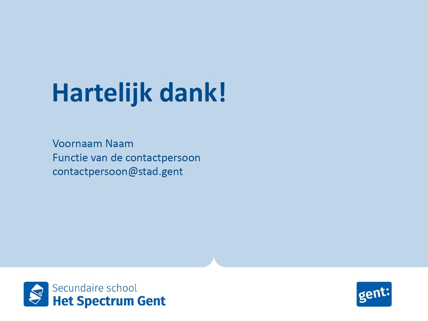"""Dia-type """"slotscherm"""", gepersonaliseerd voor de submerken van het secundair onderwijs. Powerpoint-sjabloon van de Stad Gent."""