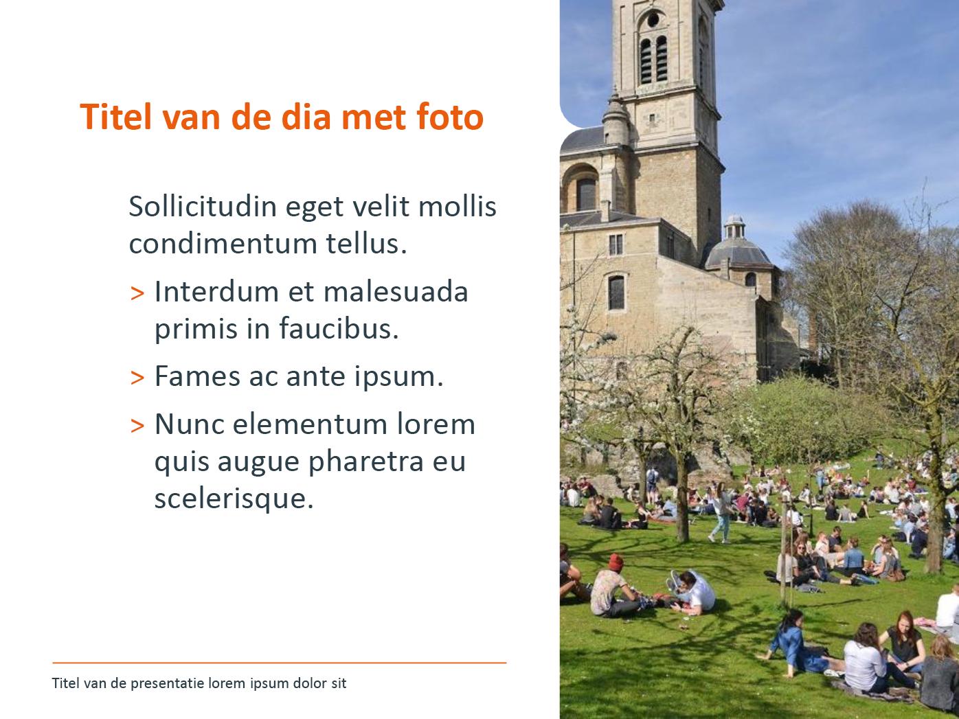 """Dia-type """"basisdia met foto"""", gepersonaliseerd voor de submerken van het basisonderwijs. Powerpoint-sjabloon van de Stad Gent."""