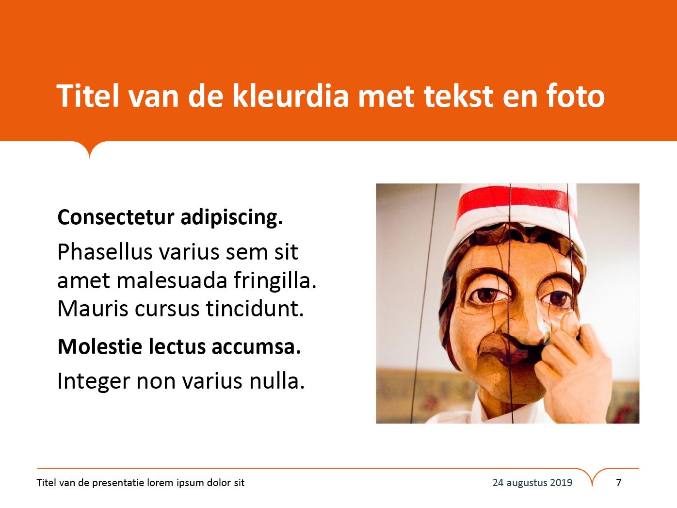 """Dia-type """"kleurdia met tekst en foto"""", gepersonaliseerd voor de submerken van het basisonderwijs. Powerpoint-sjabloon van de Stad Gent."""