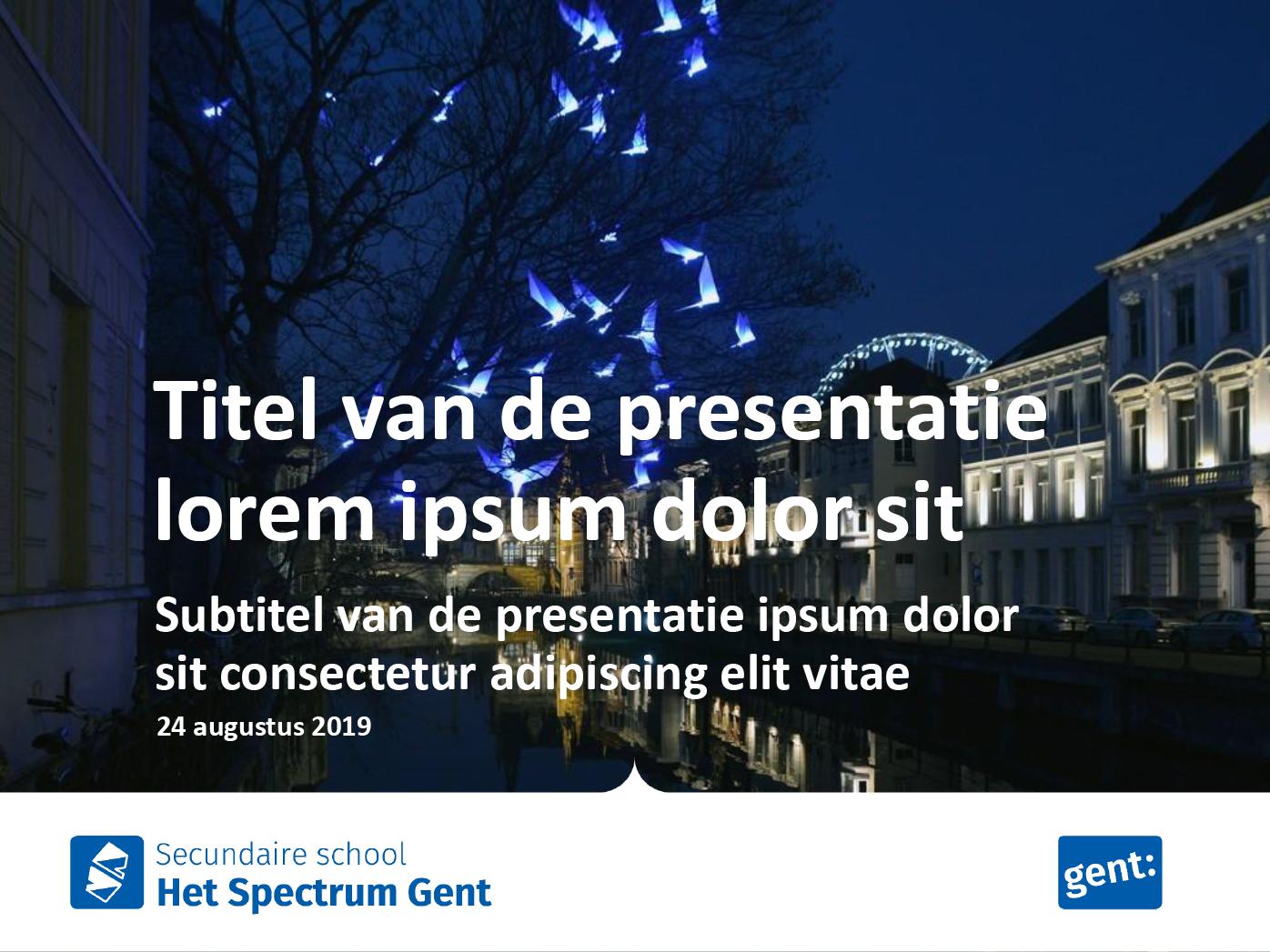 """Dia-type """"titel van de presentatie"""", gepersonaliseerd voor de submerken van het secundair onderwijs. Powerpoint-sjabloon van de Stad Gent."""