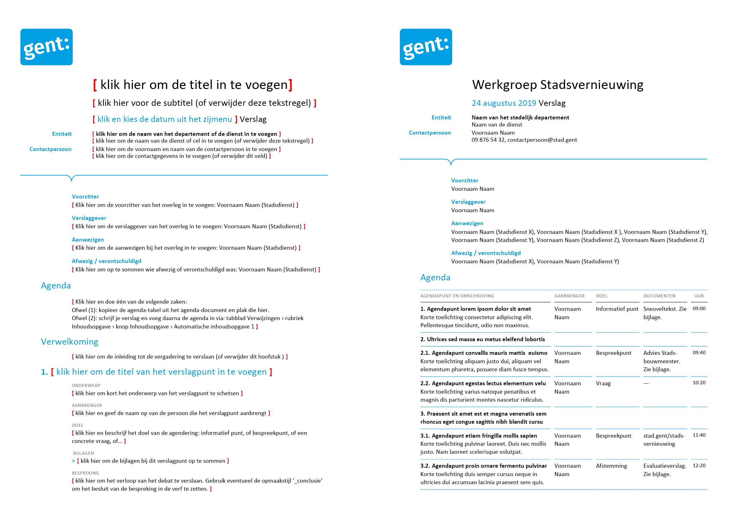 Verslag van vergadering (blanco en ingevuld). Afgeleid Microsoft Word-sjabloon voor de Stad Gent.