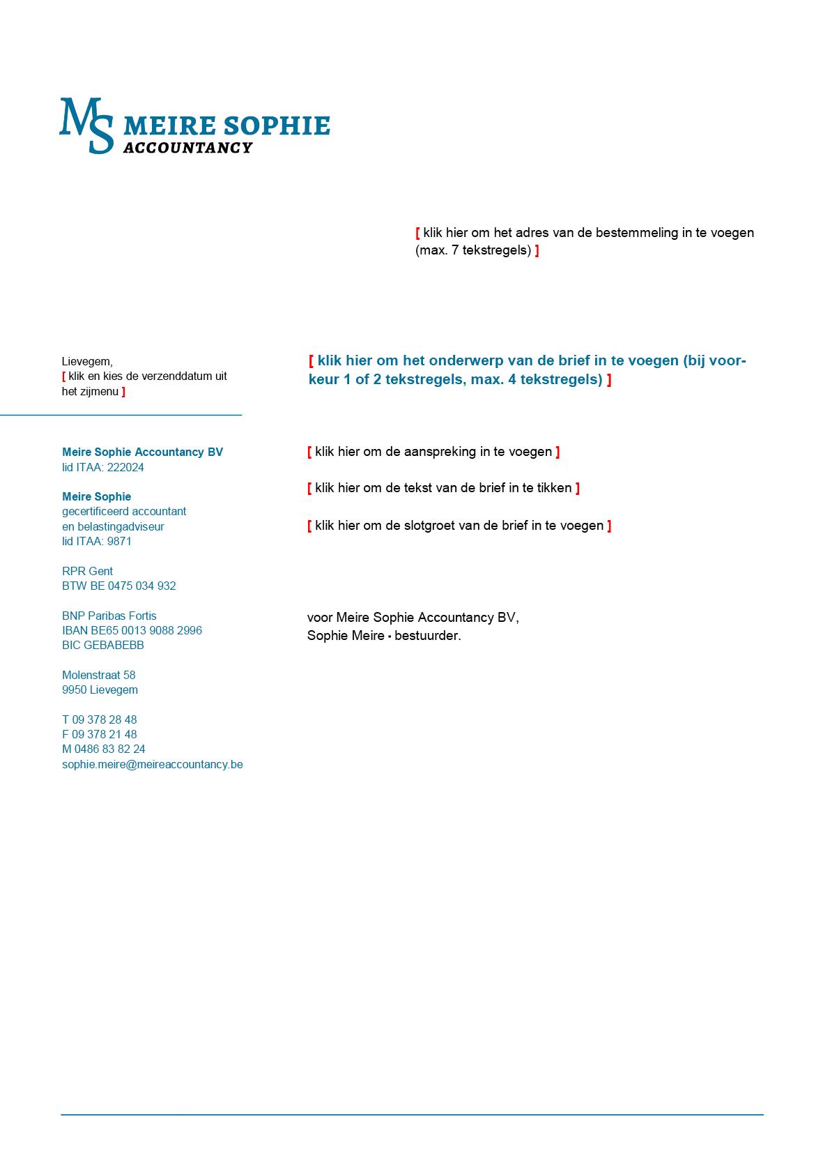Brief-sjabloon voor Microsoft Word, met blanco invulvelden