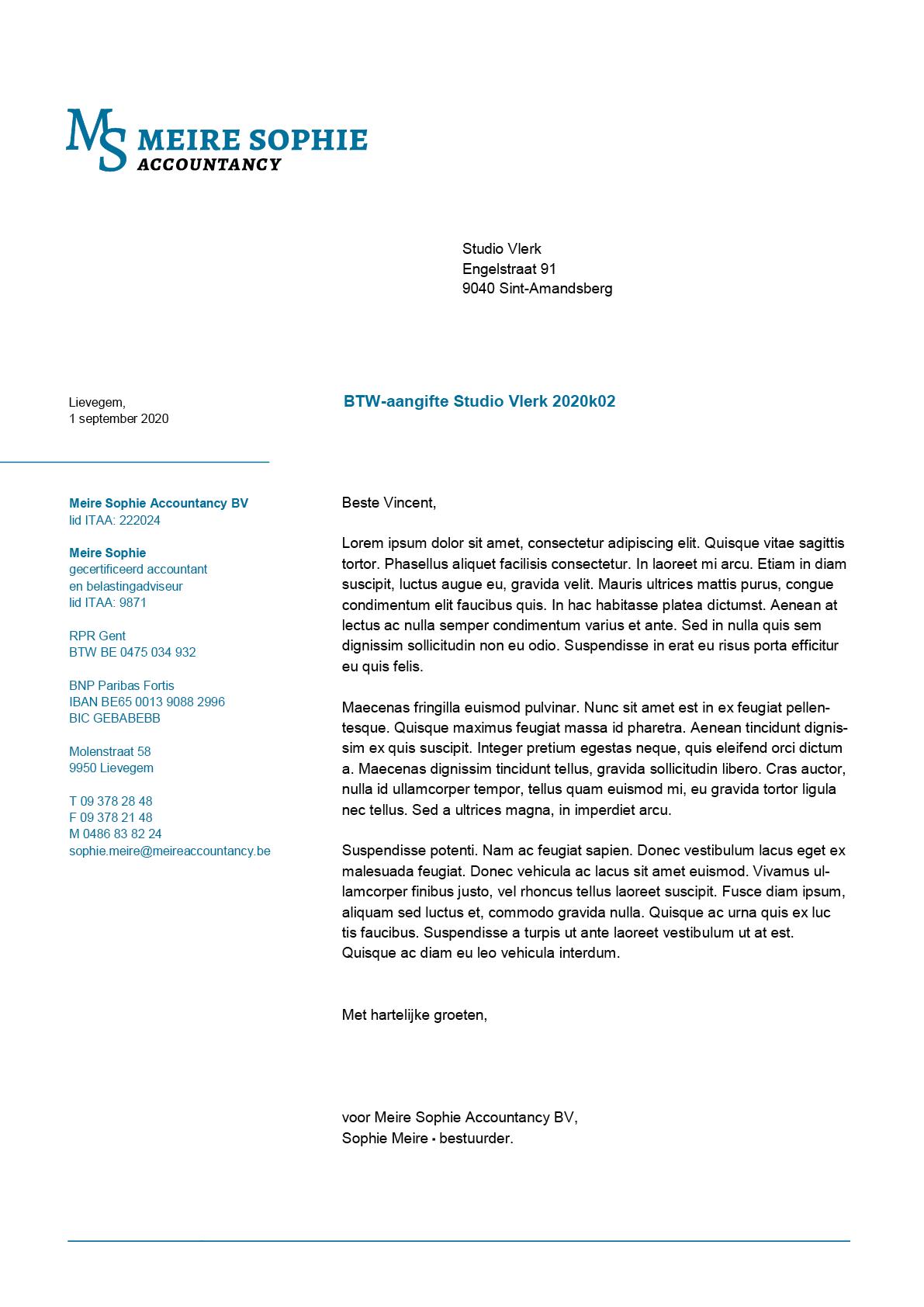 Brief-sjabloon voor Microsoft Word, met ingevulde velden
