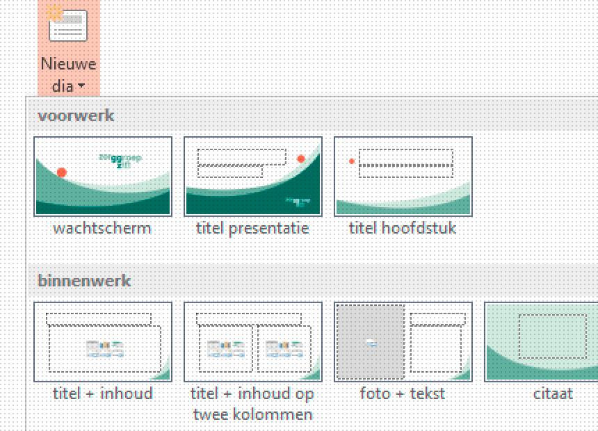 Detail uit het overzichtelijk keuzemenu voor dia-types van het Microsoft Powerpoint-sjabloon voor zorGGroep Zin. Klik om naar het project te gaan.